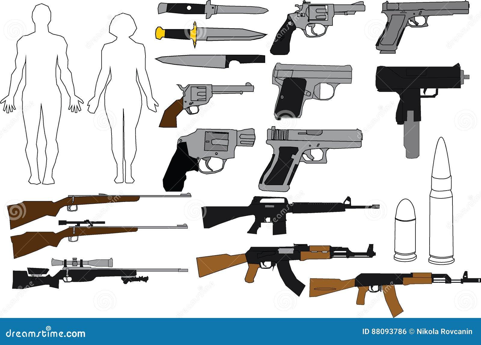 Illustration guns and rifles