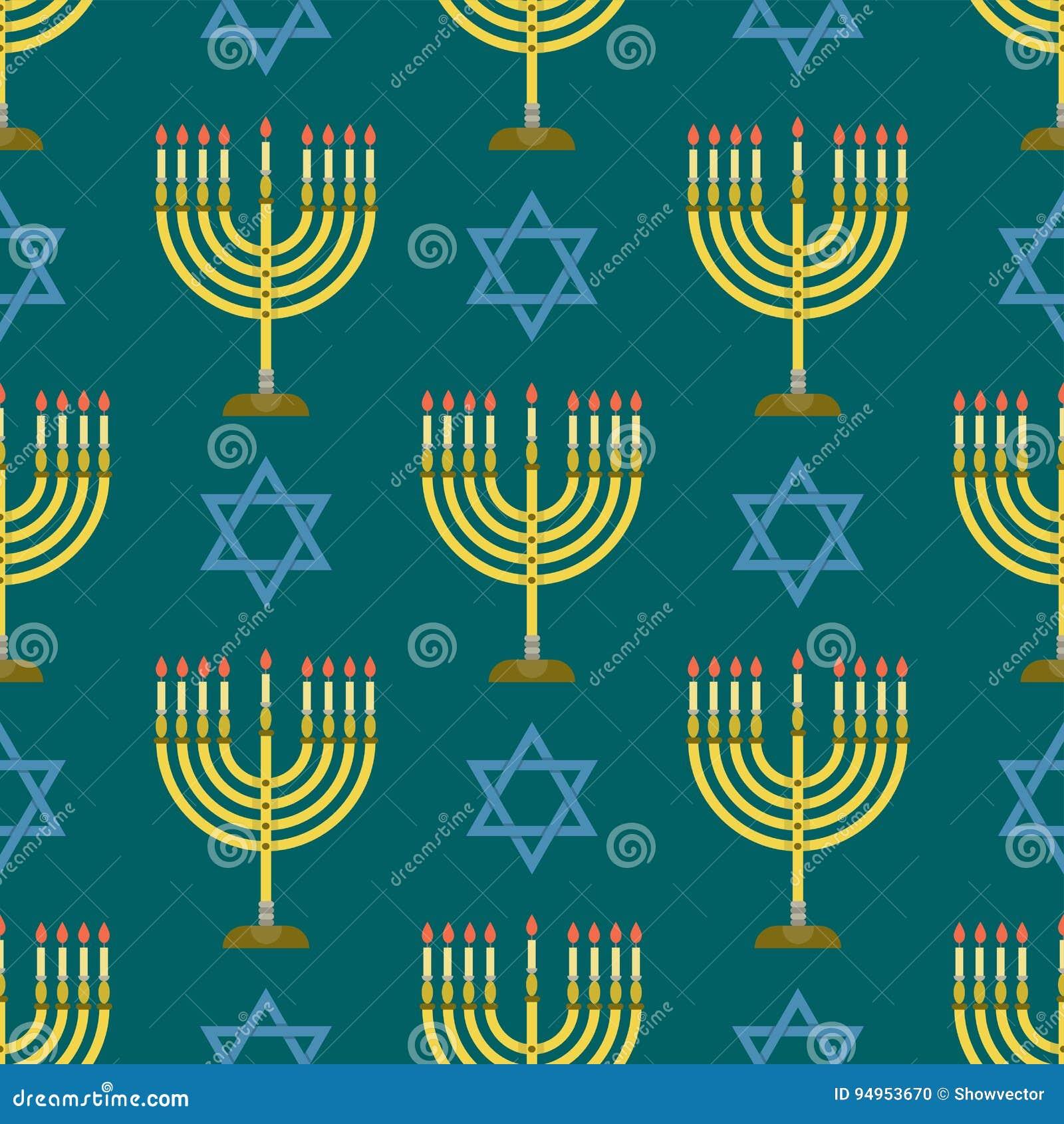 Illustration hébreue de vecteur de juif de modèle d église de judaïsme de Hanoucca de pâque religieuse sans couture traditionnell
