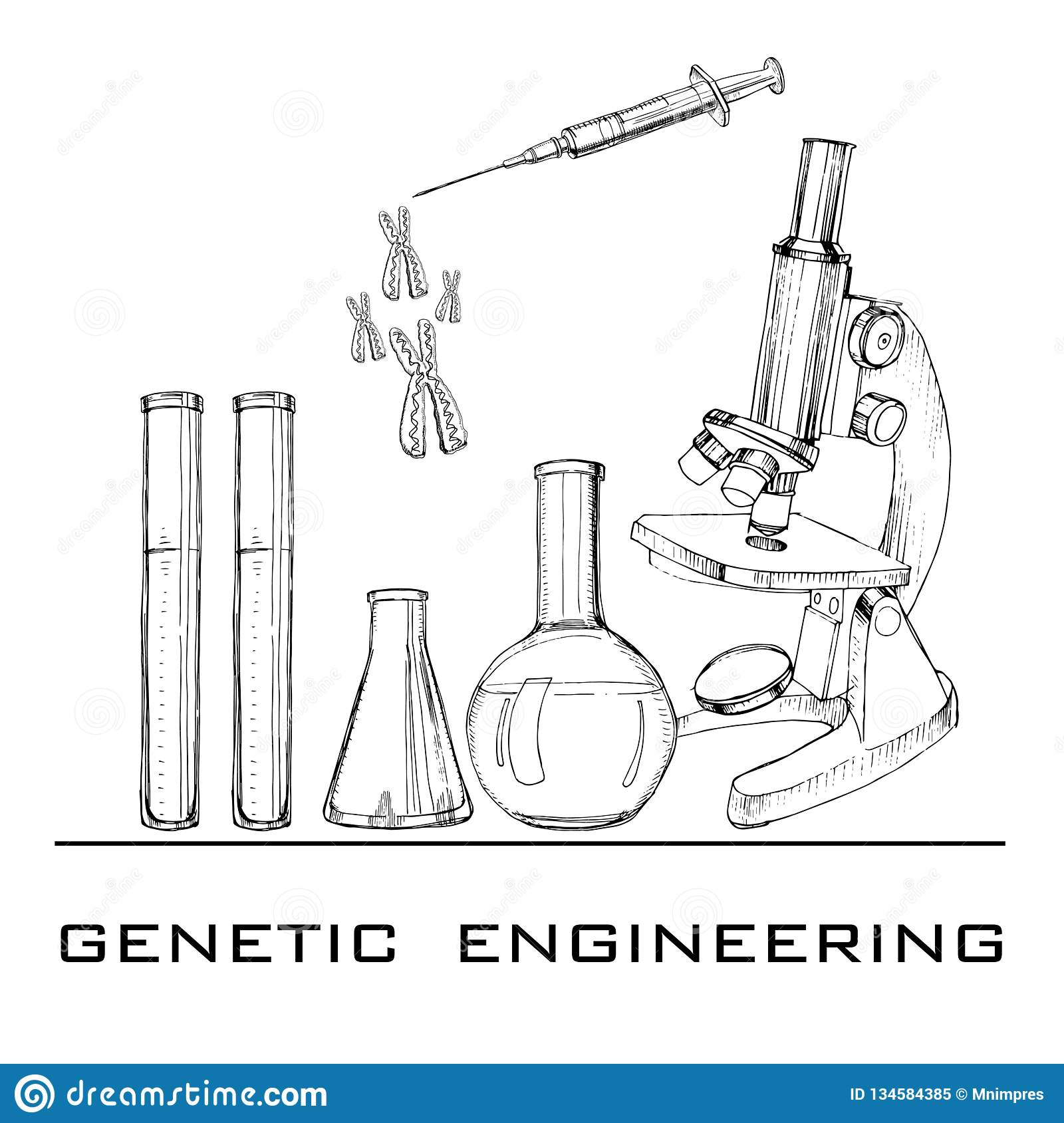 Illustration Of Hand Drawn Genetic Engineering Set Elements For Dna