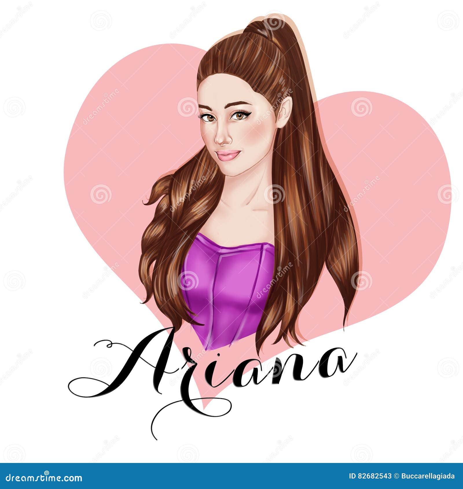 Illustration hand drawn portrait of singer ariana grande