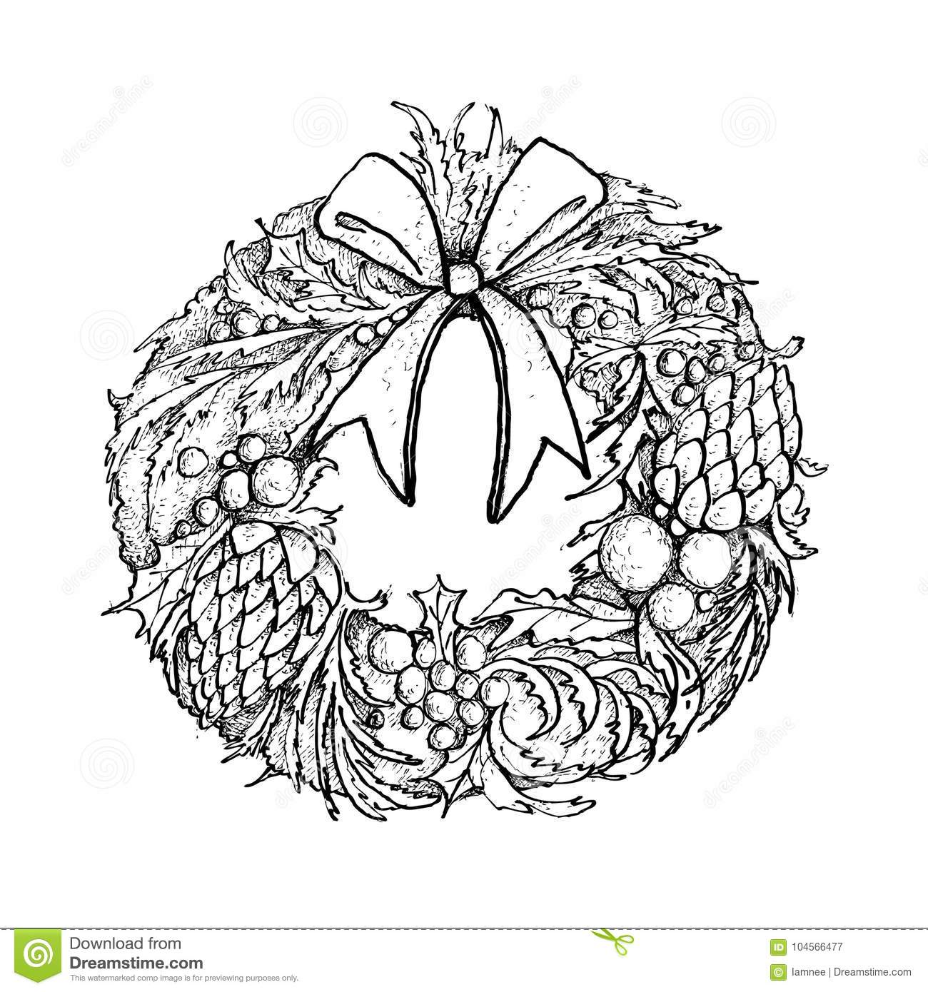 Drawings Of Christmas Wreaths.Hand Drawn Of Christmas Wreath With Decorations Stock Vector