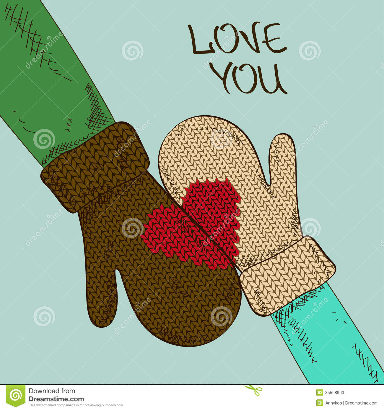Illustration With Hands Of Couple In Mittens Stock Photos - Image: 35598903