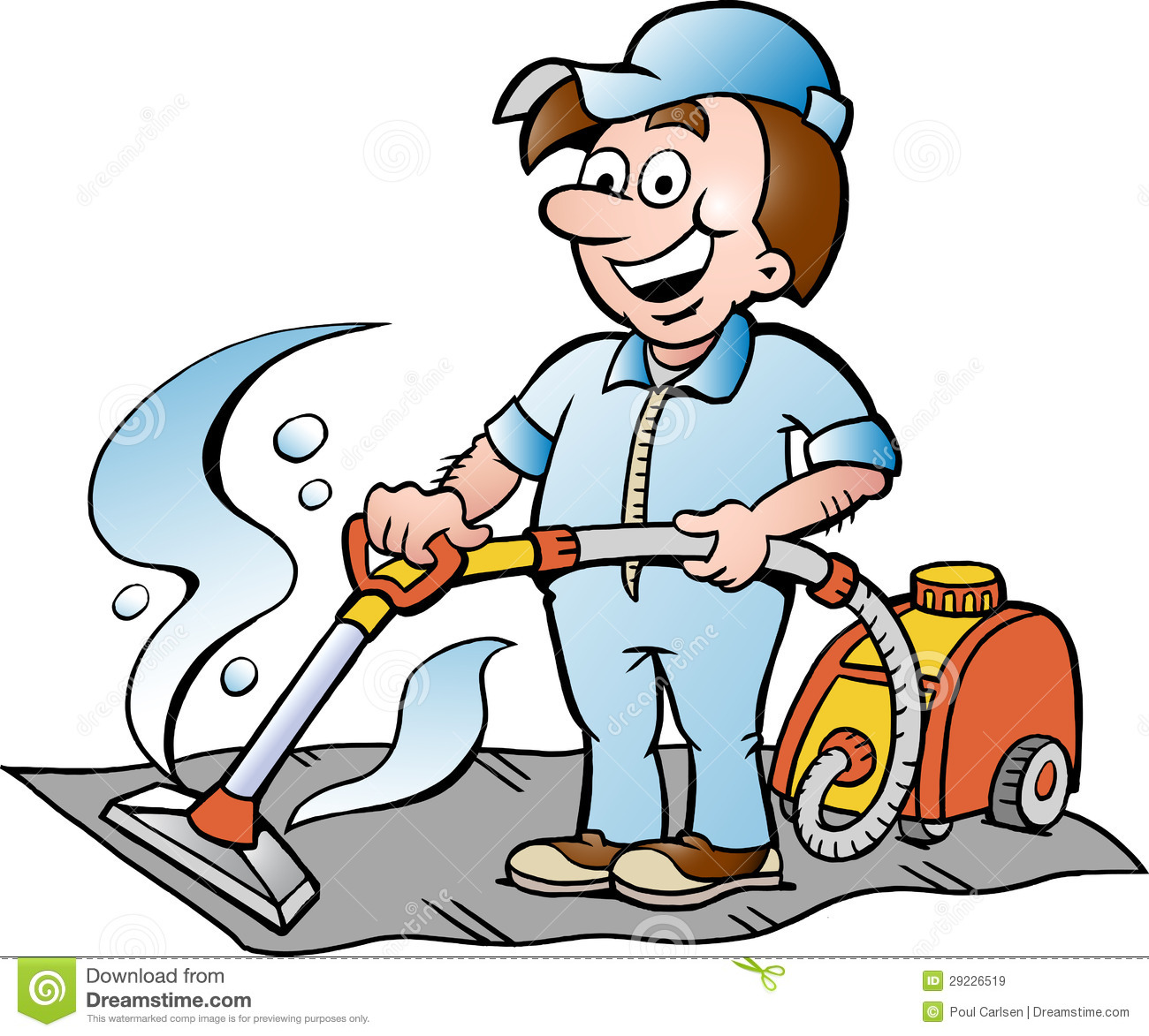 Illustration Of A Happy Carpet Cleaner Royalty Free Stock