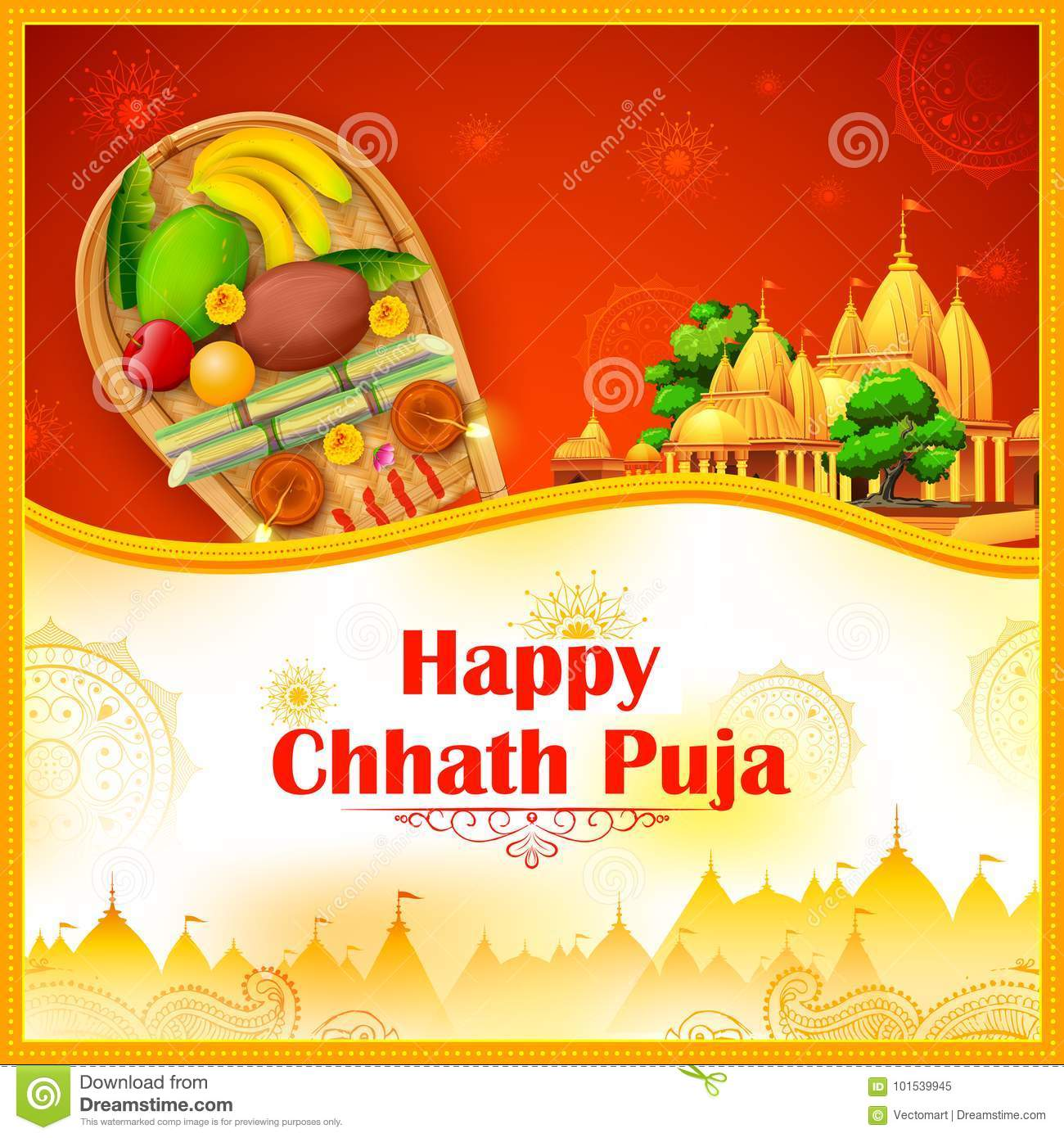 Happy Chhath Puja Holiday Background For Sun Festival Of India Stock