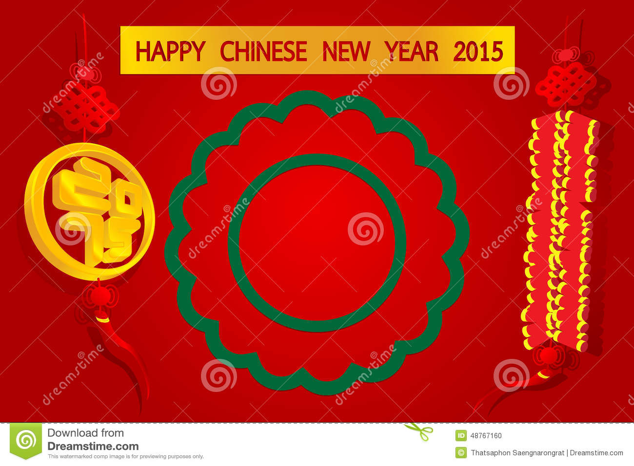 Illustration Of Happy Chinese New Year 2015 With Gold Amulet On Red Background