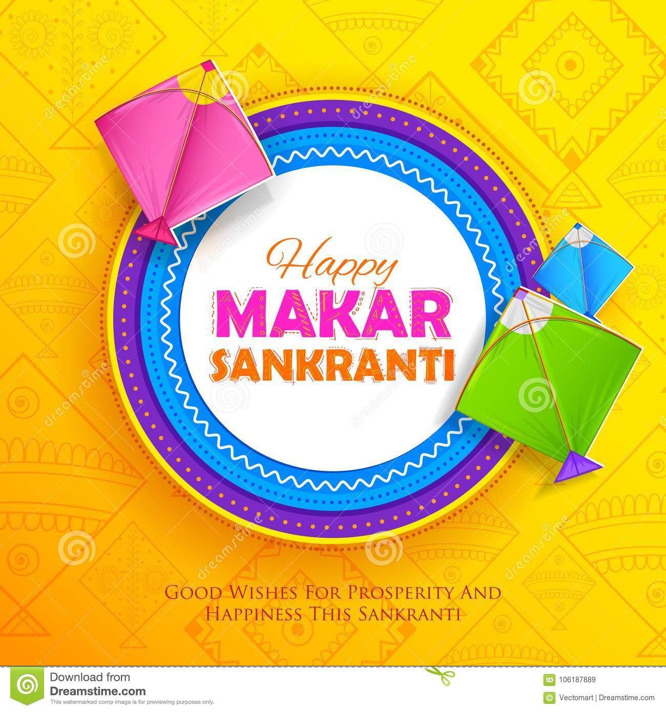 Happy makar sankranti wallpaper with colorful kite string stock download happy makar sankranti wallpaper with colorful kite string stock vector illustration of colorful m4hsunfo