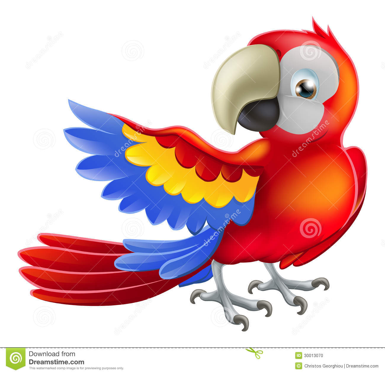 Illustration of a happy red cartoon macaw parrot pointing with his ...