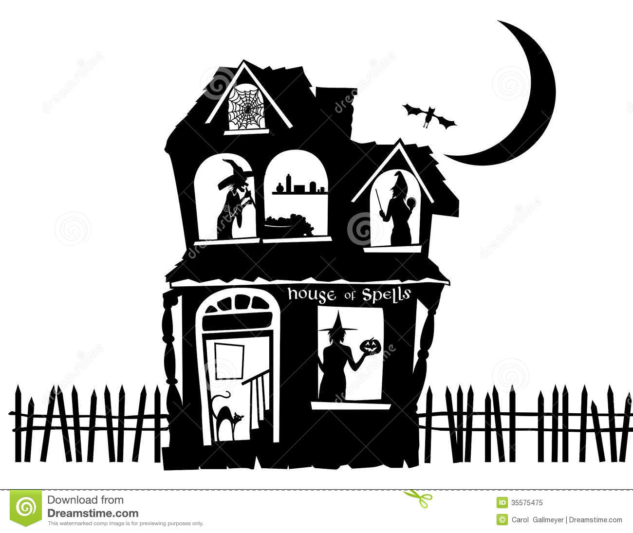 haunted house silhouettes coloring pages - photo#28