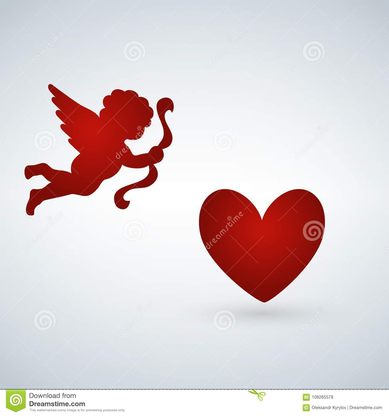 Illustration Heart With Cupid On A White Background Cupid With Bow