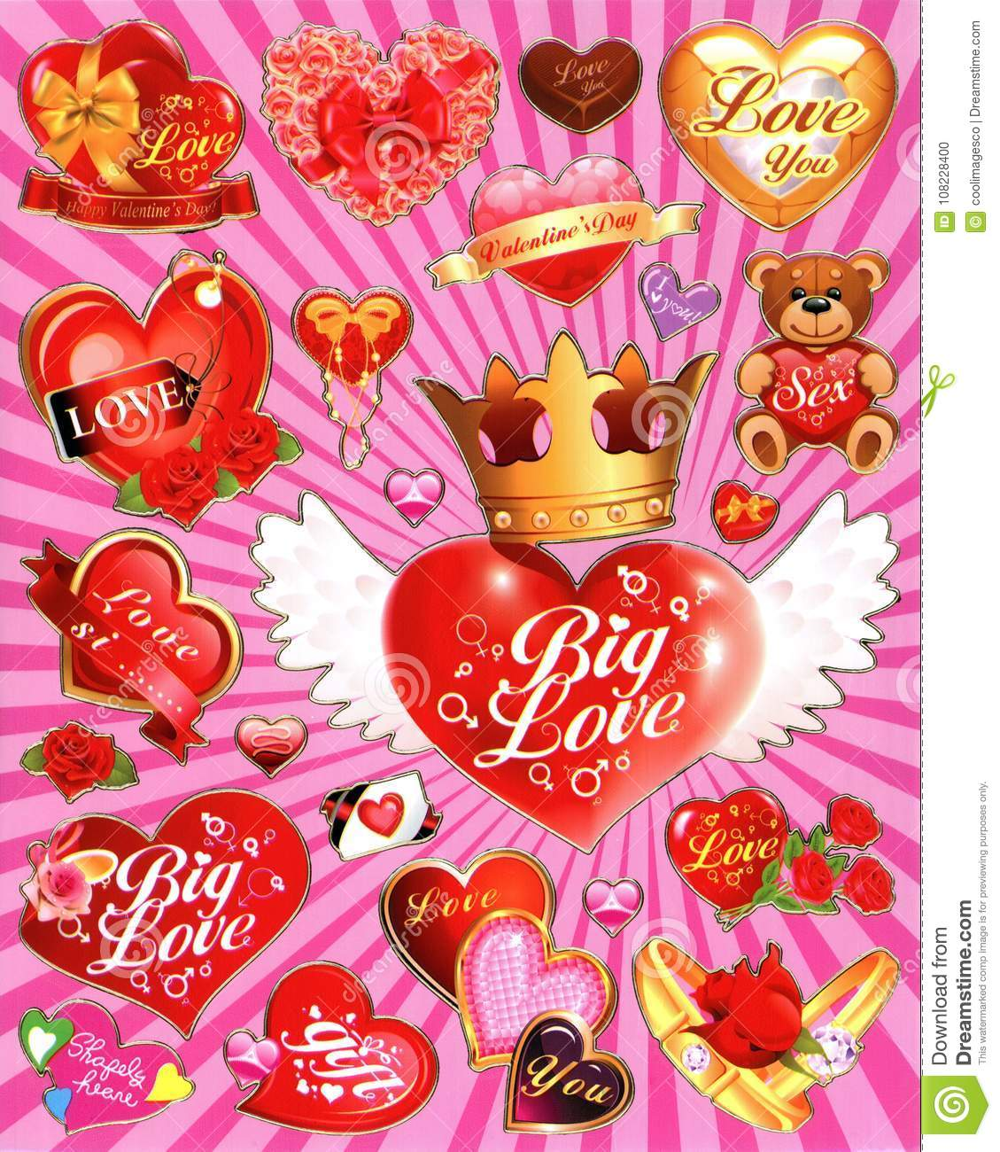 An Illustration Of Heart Love Crown And Teddy Bear As A