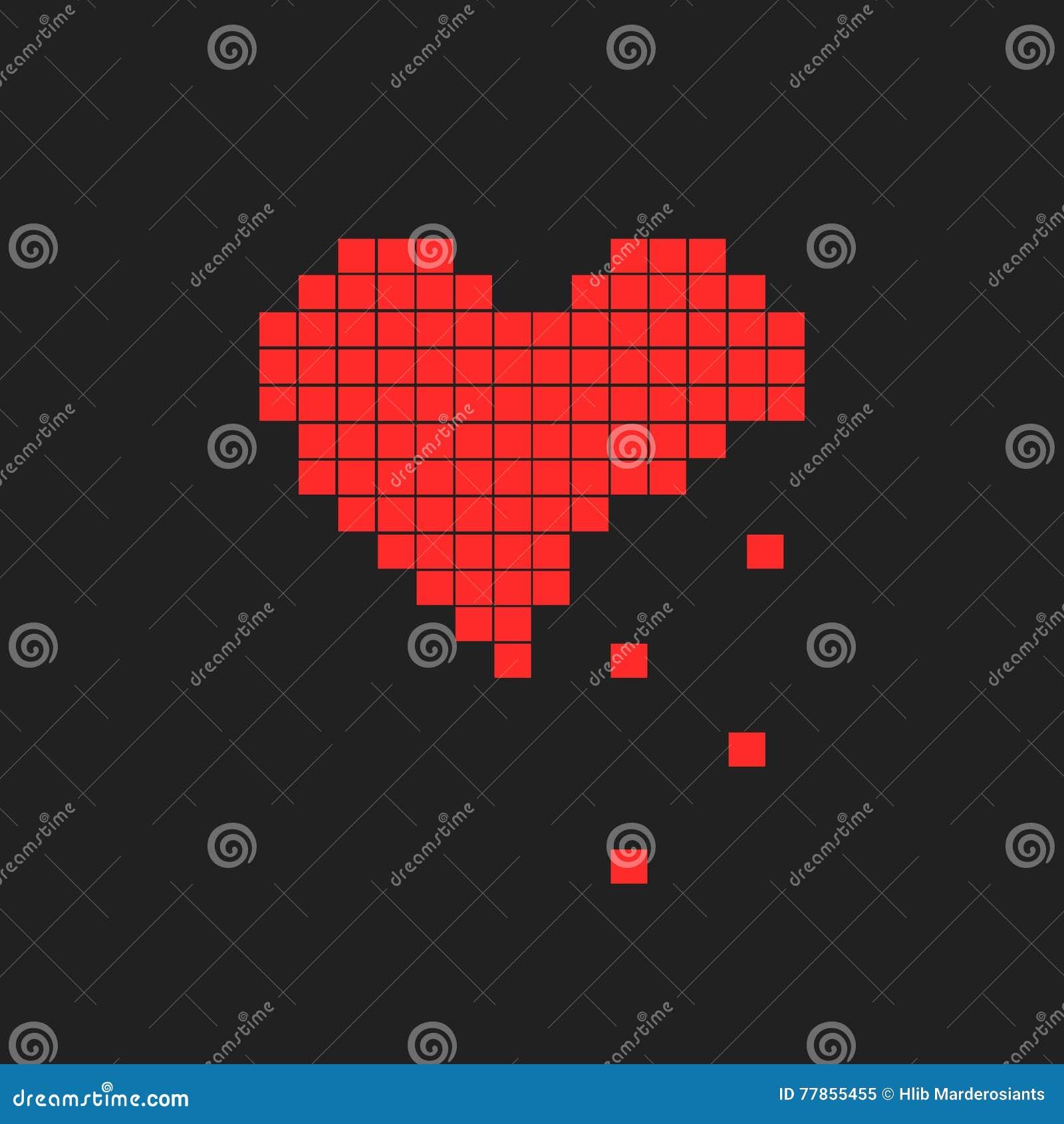 Illustration Of Heart Symbol In Pixel Art Style Stock Illustration
