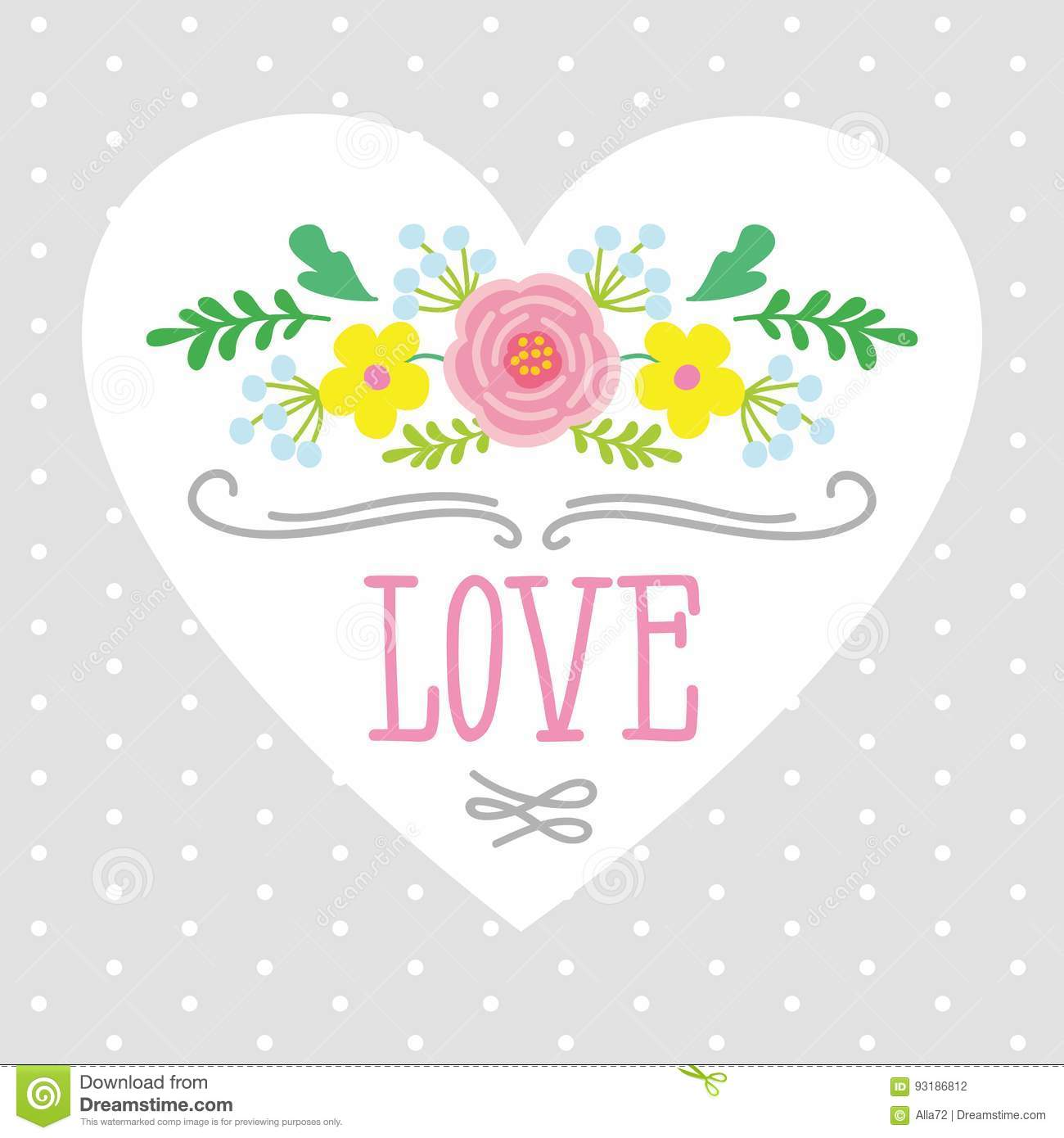 Illustration Of Heart With The Word Love Framed By Flowers. Template ...