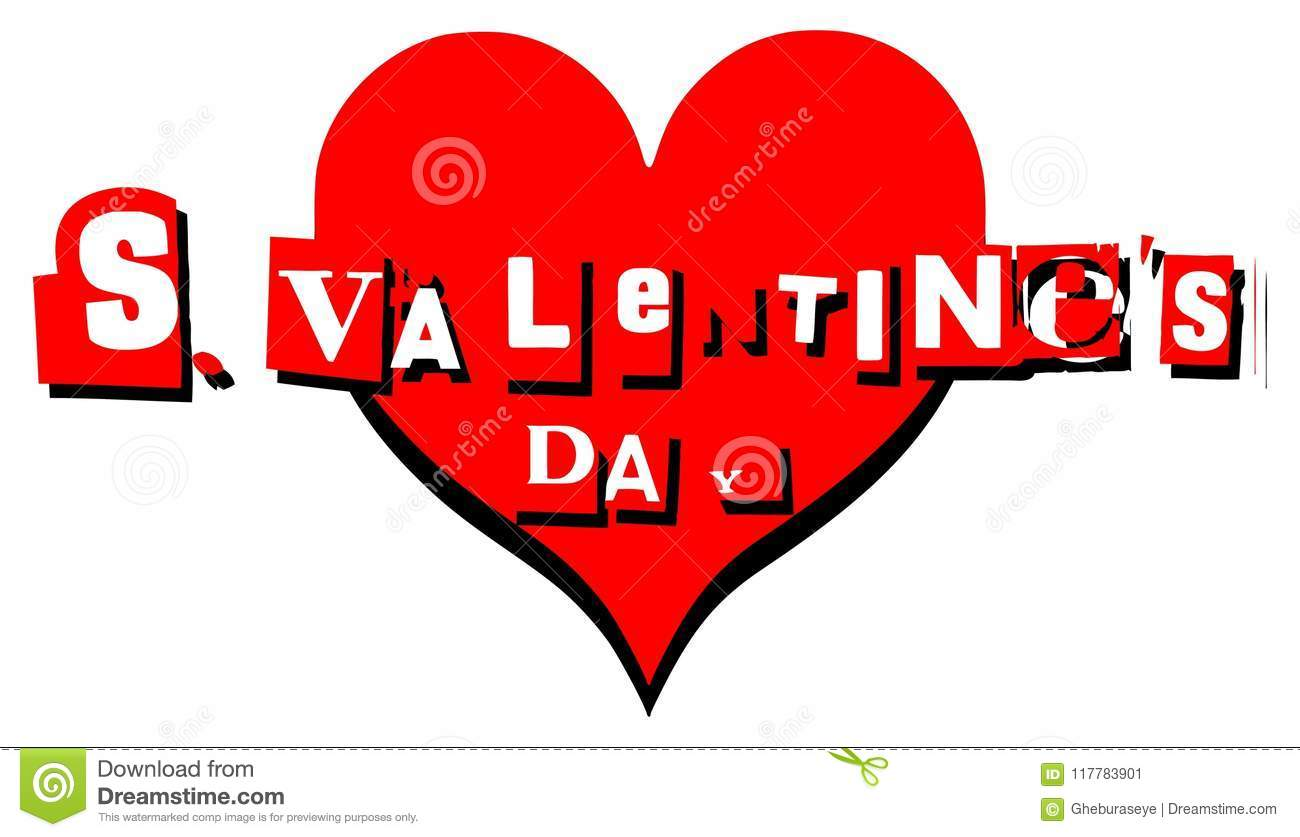 Valentine Greeting Card With Heart In English Stock Illustration