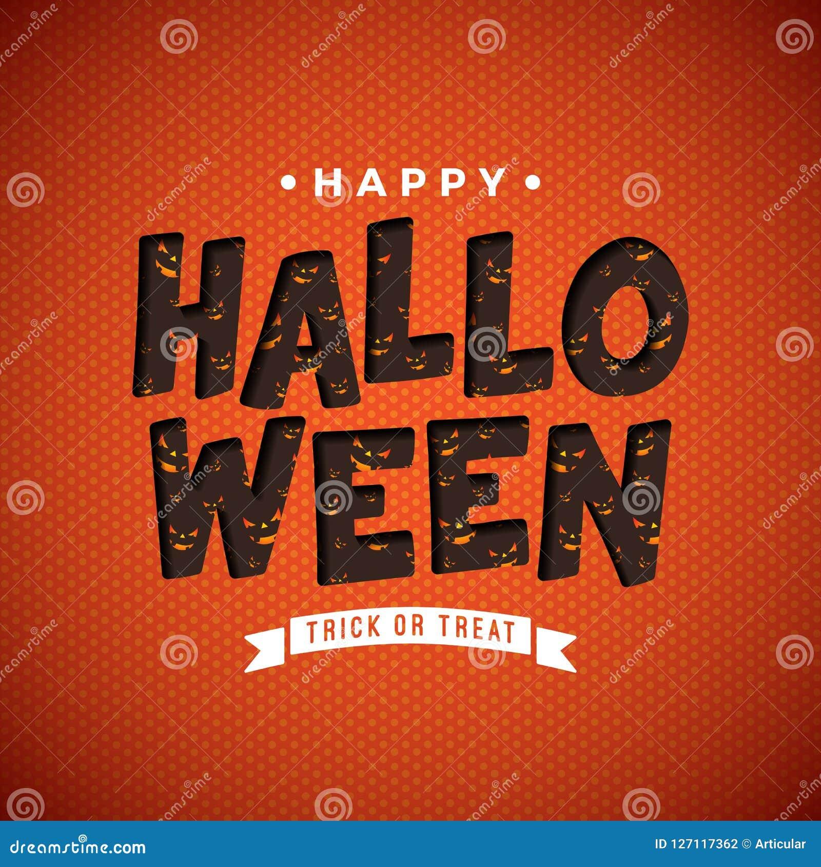Illustration heureuse de vecteur de Halloween avec le modèle effrayant de visage dans le lettrage de typographie sur le fond oran