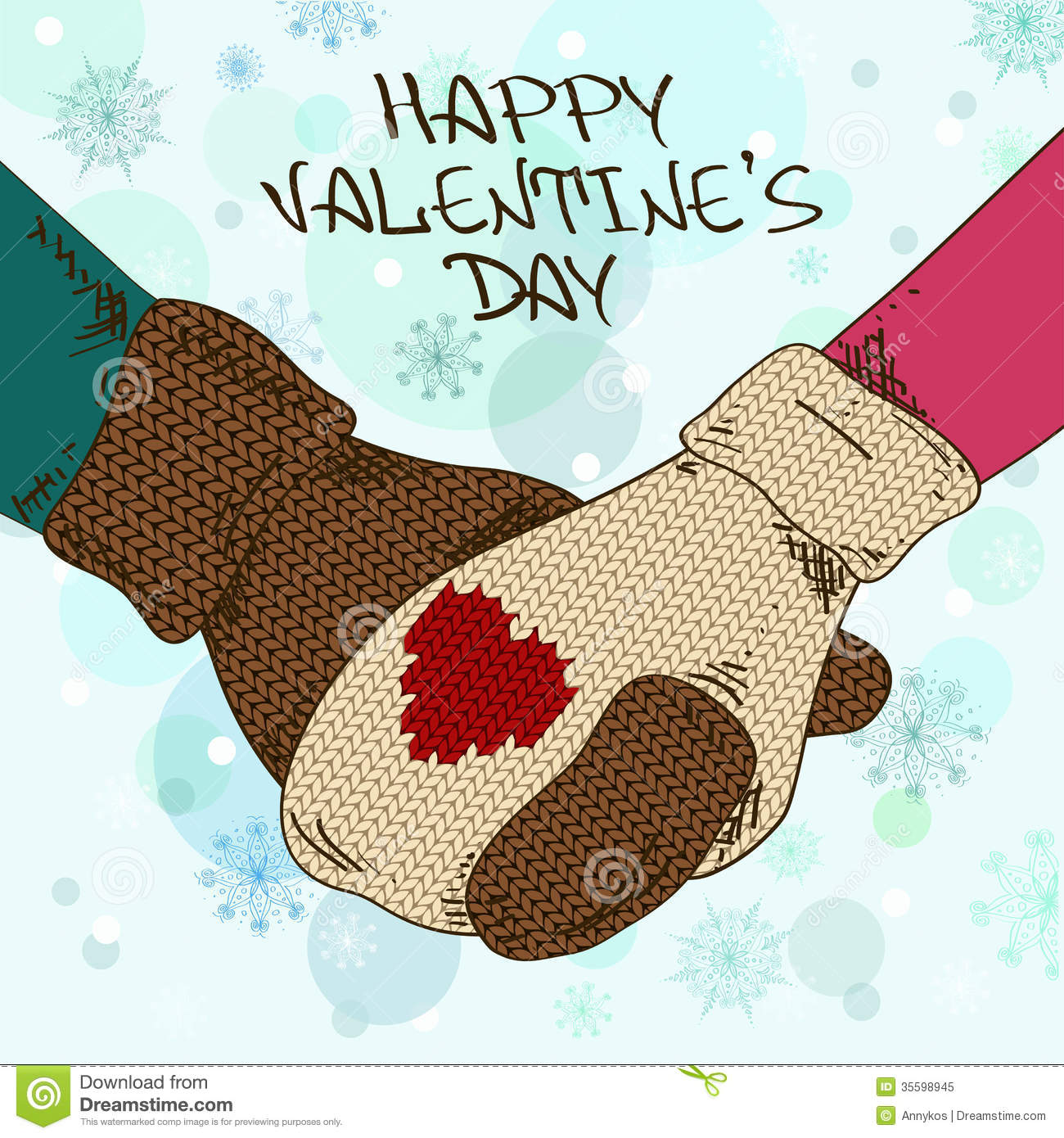 Illustration With Holding Hands Couple In Mittens Royalty Free Stock Photo - ...