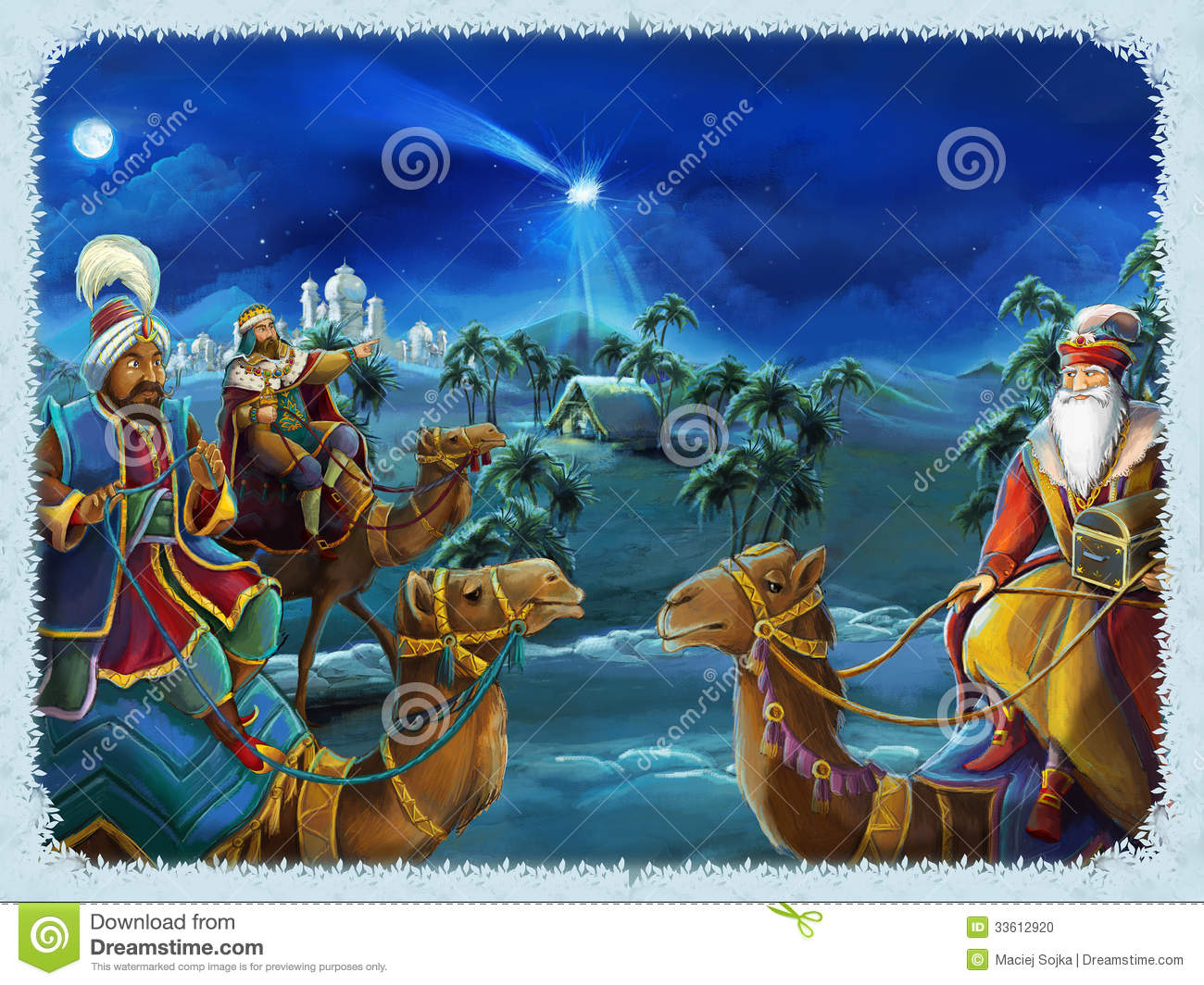 the illustration of the holy family and three kings