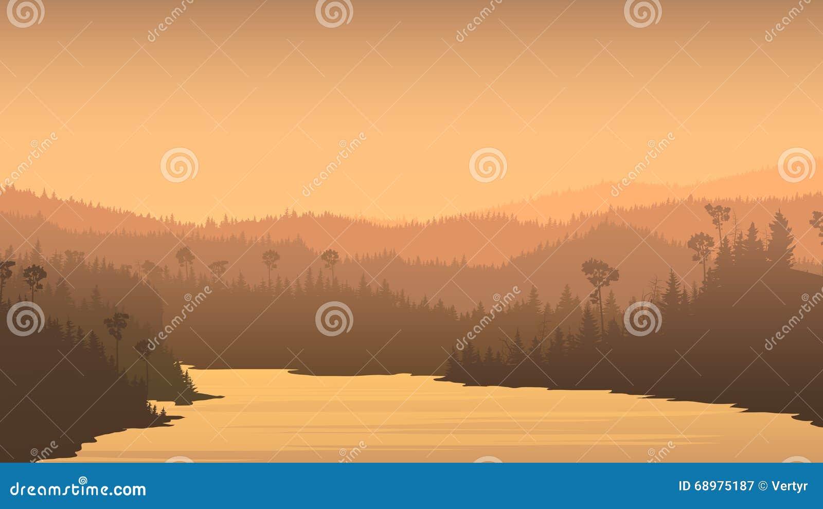 Illustration horizontale de rivière entre Forest Hills
