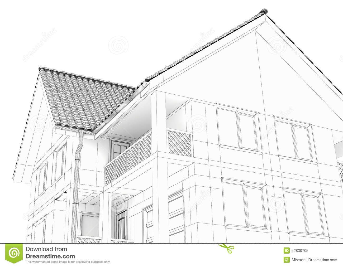 Line Art Of House : Illustration of a house black line drawing stock