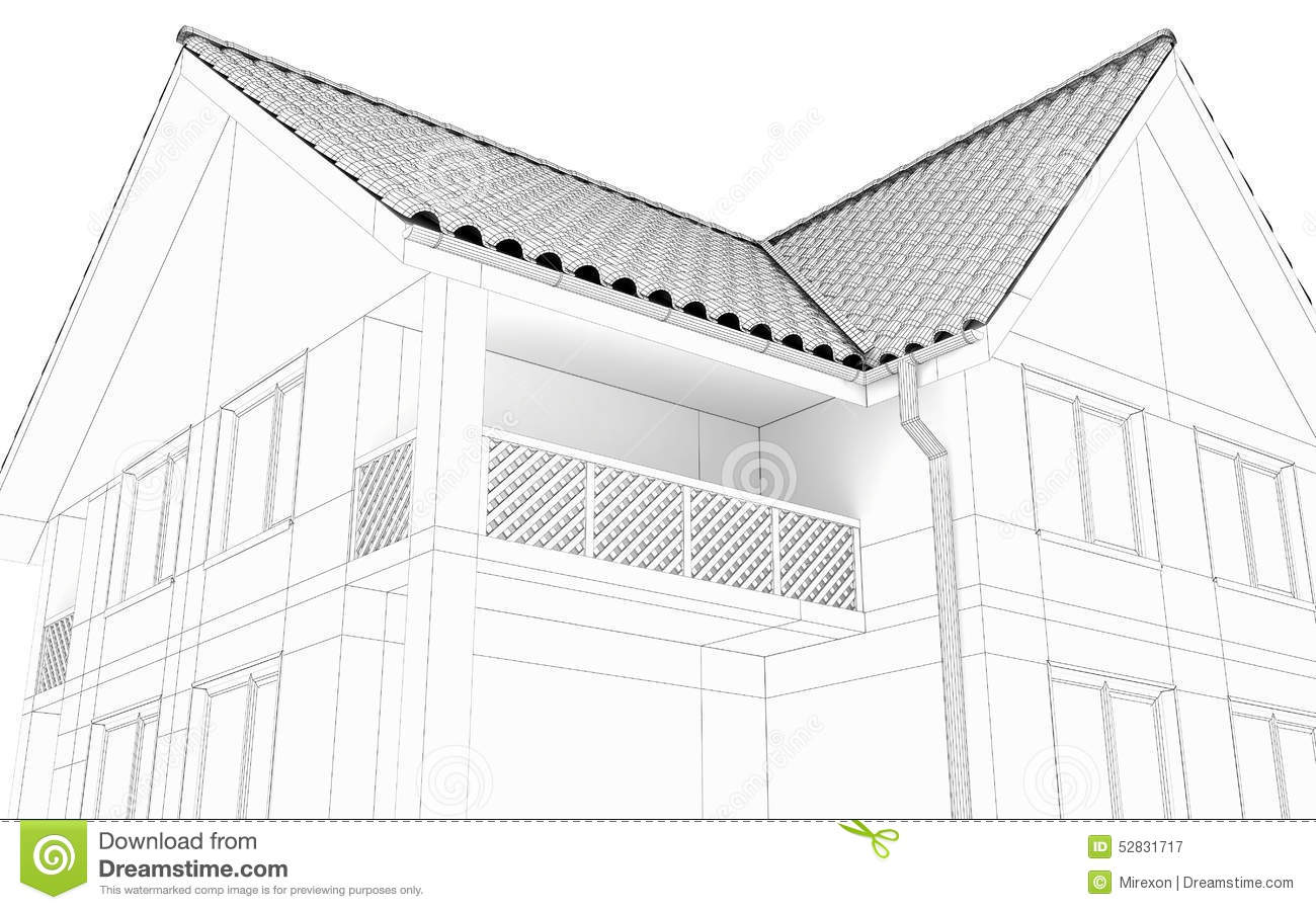 Line Art Rendering Of 3d Models : Illustration of a house black line drawing stock