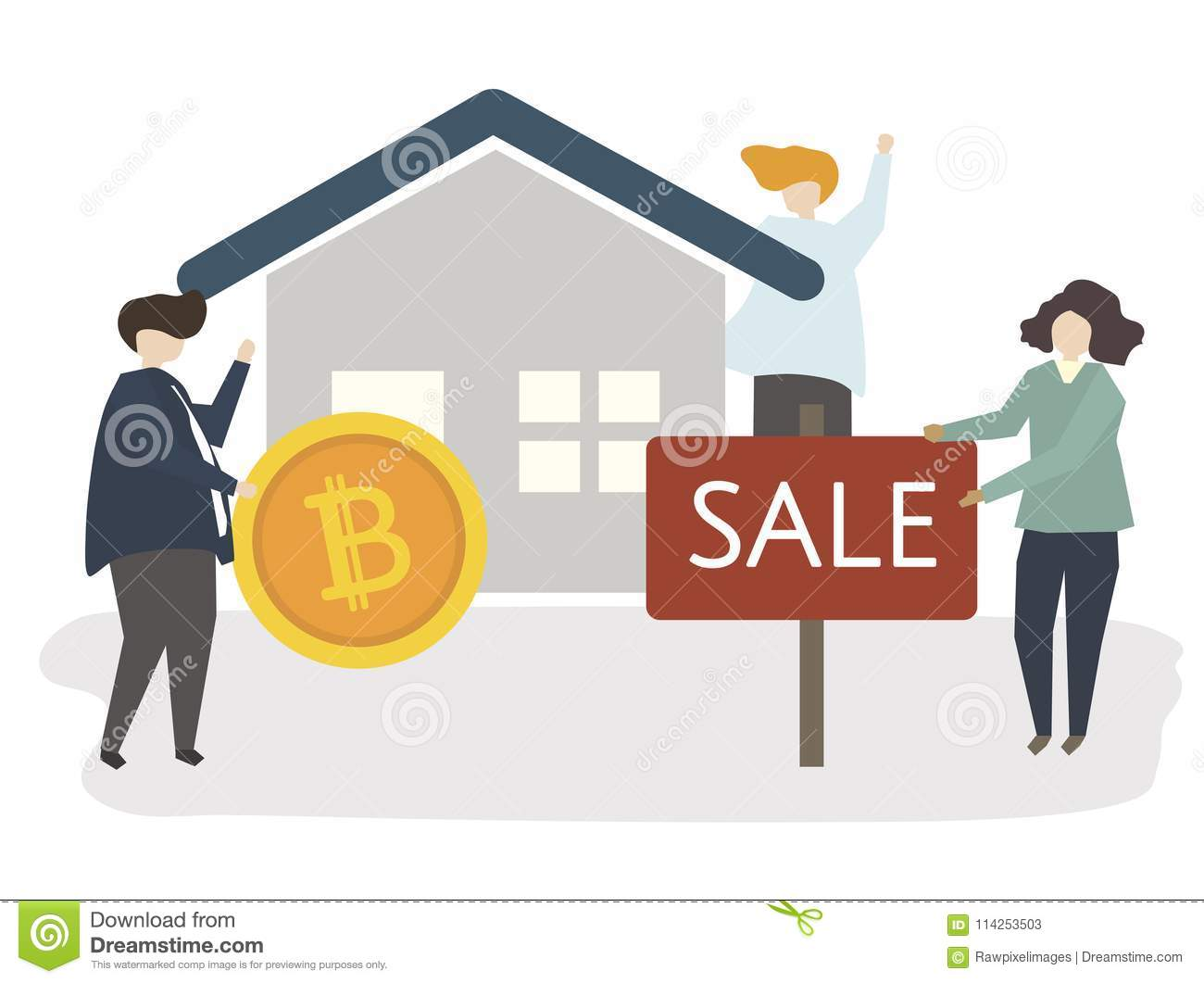 Illustration of a house on sale