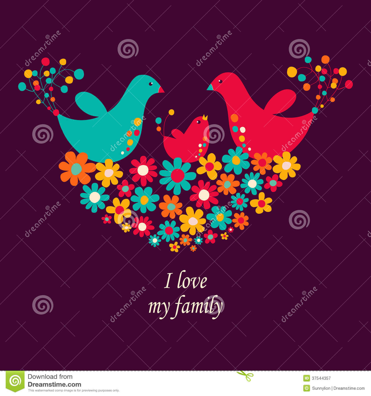 Illustration I Love My Family Stock Illustration Illustration Of