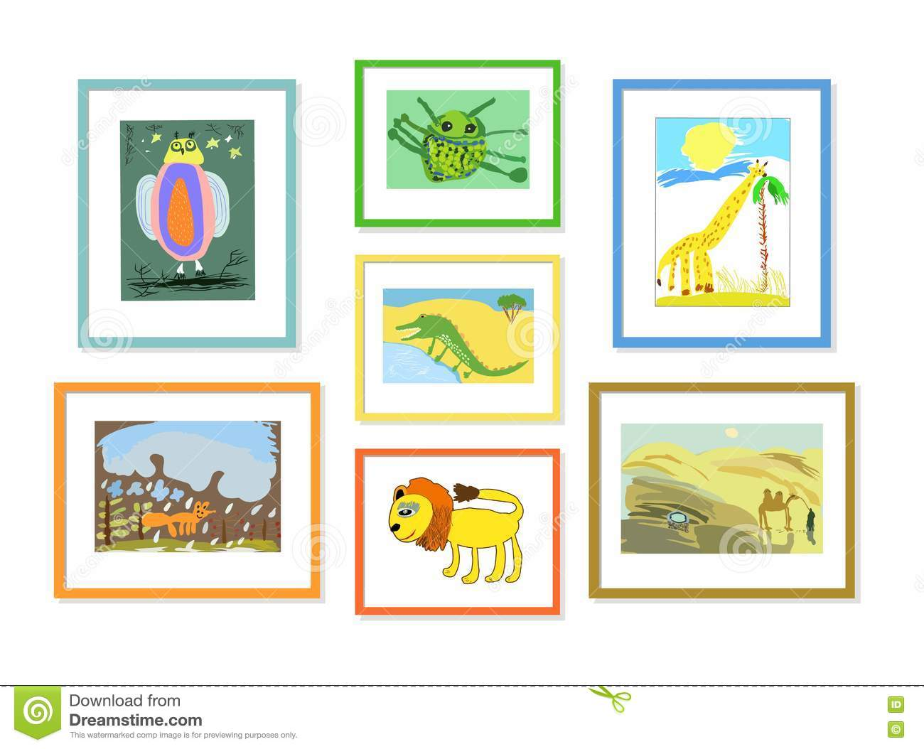 Illustration With The Image Of Colored Childrens Drawings Of Animals ...