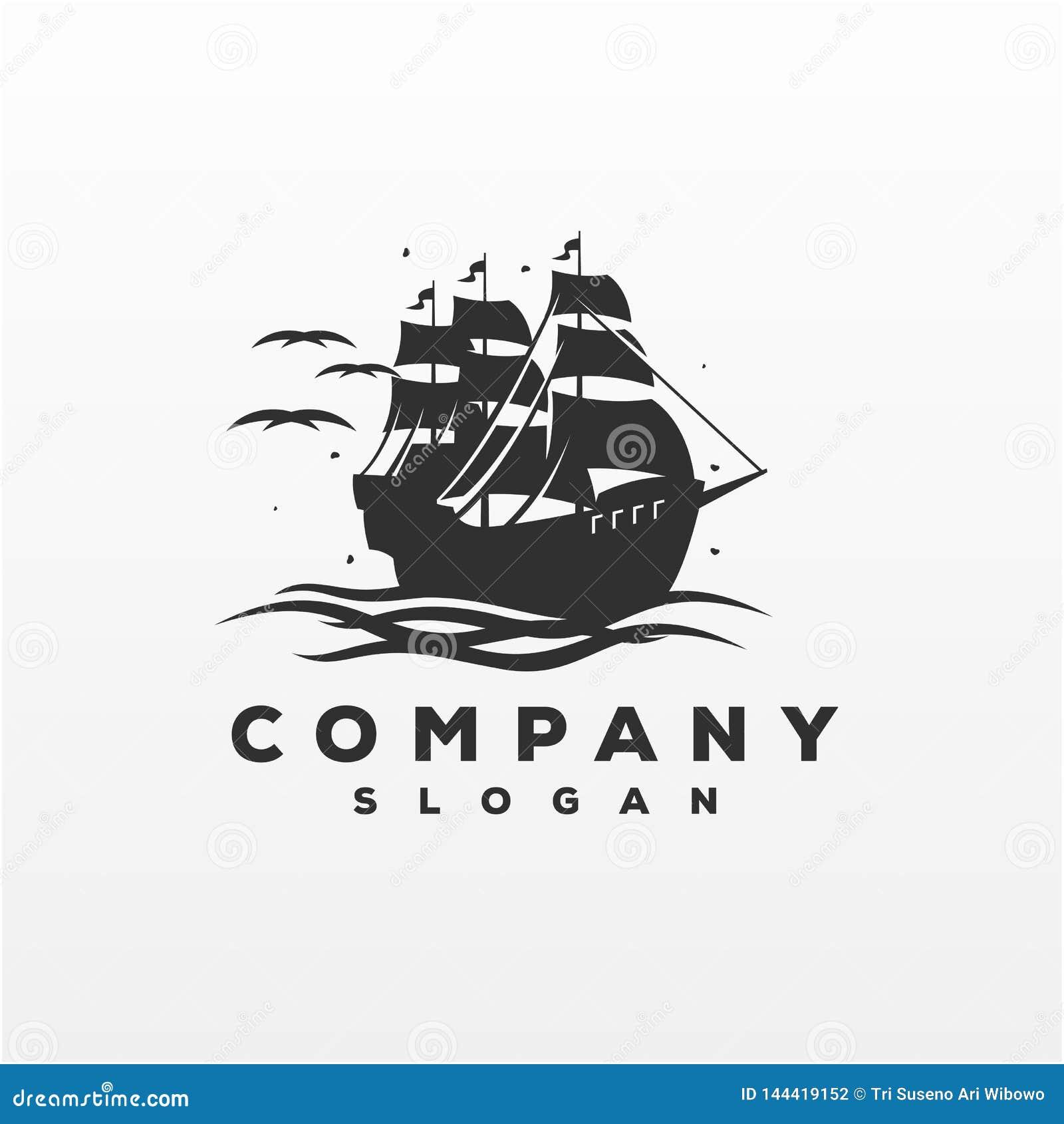 Illustration impressionnante de vecteur de conception de logo de bateau