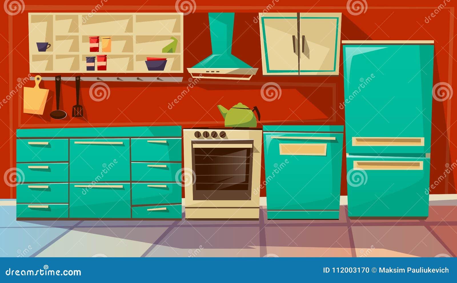 Illustration intérieure de bande dessinée de vecteur de fond de cuisine moderne des meubles et des appareils de cuisine