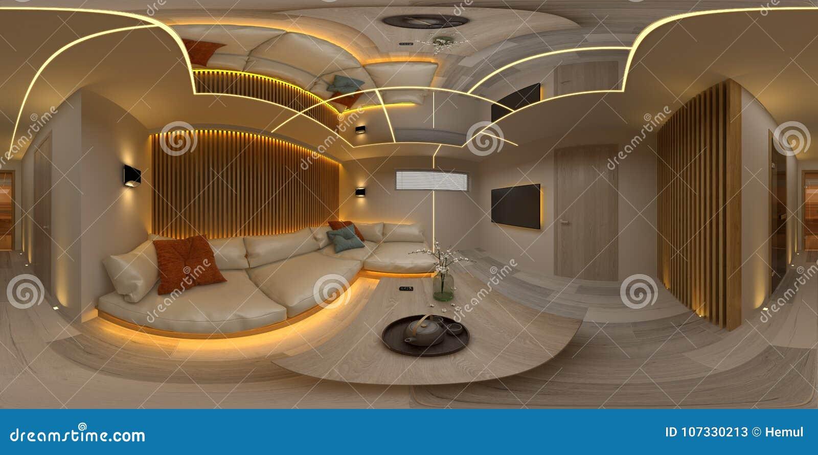 Illustration intérieure de salle 3D de conception moderne 360 de projection sans couture sphérique de panorama