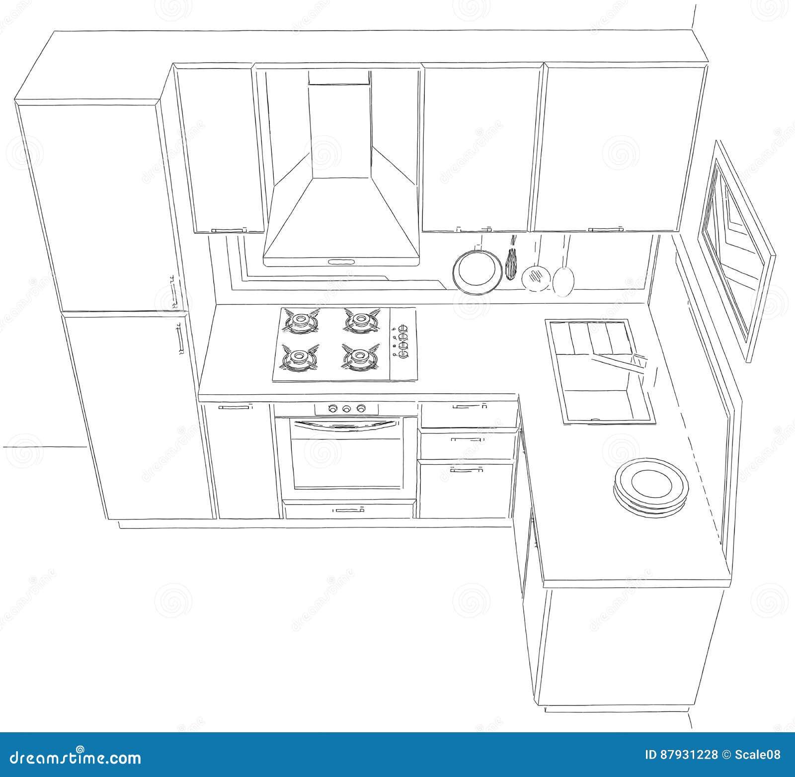 Illustration Interieure Du Croquis 3d De Petite Cuisine