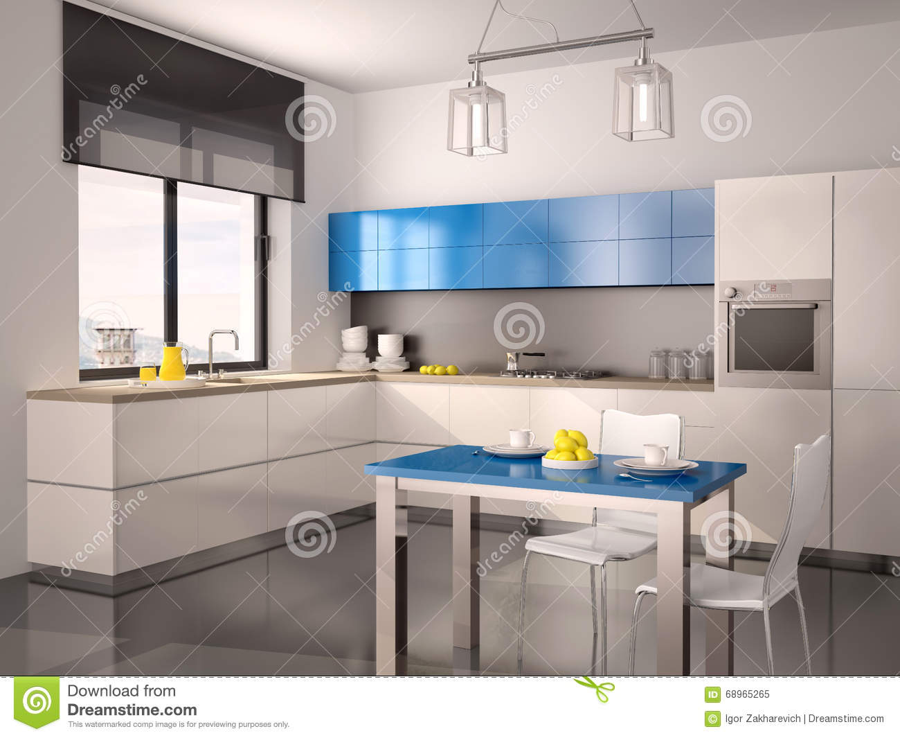Illustration of interior of modern kitchen in