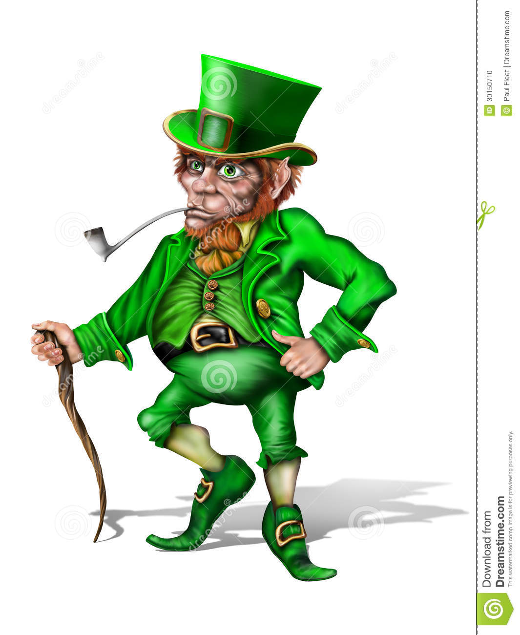 Illustration of an Irish leprechaun holding a shillelagh.