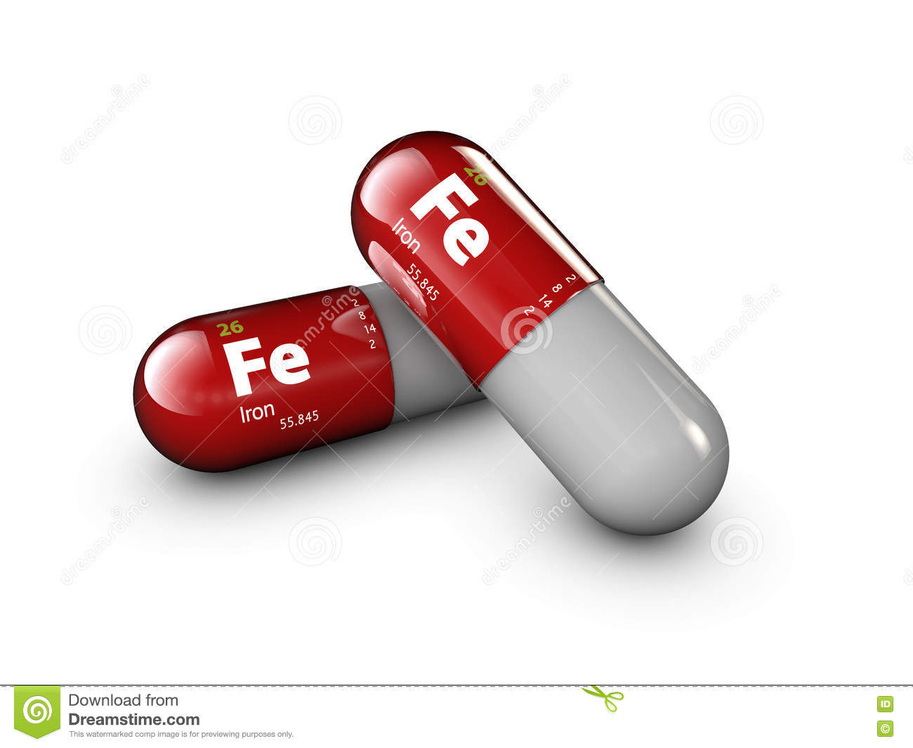 Illustration of iron mineral. Glossy drop pill capsule and vitamin complex. Healthy life medical dietary supplement.