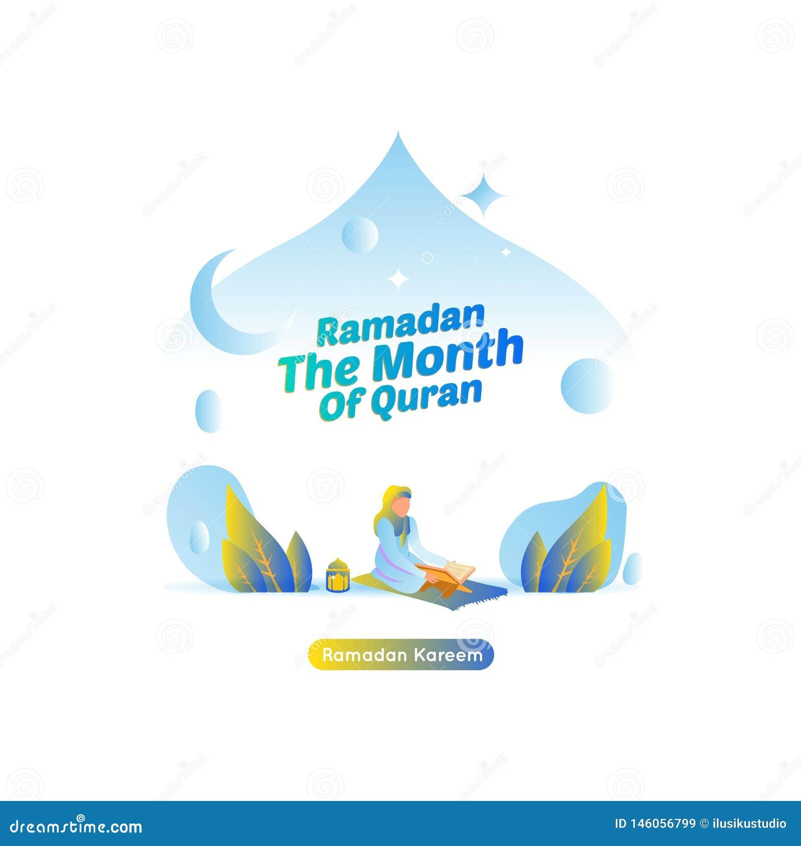 Ramadan Kareem - Vector Illustration Reading The Holy Quran