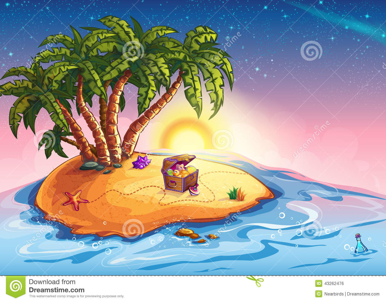Treasure Toys Cartoon : Illustration island with palm trees and a treasure chest