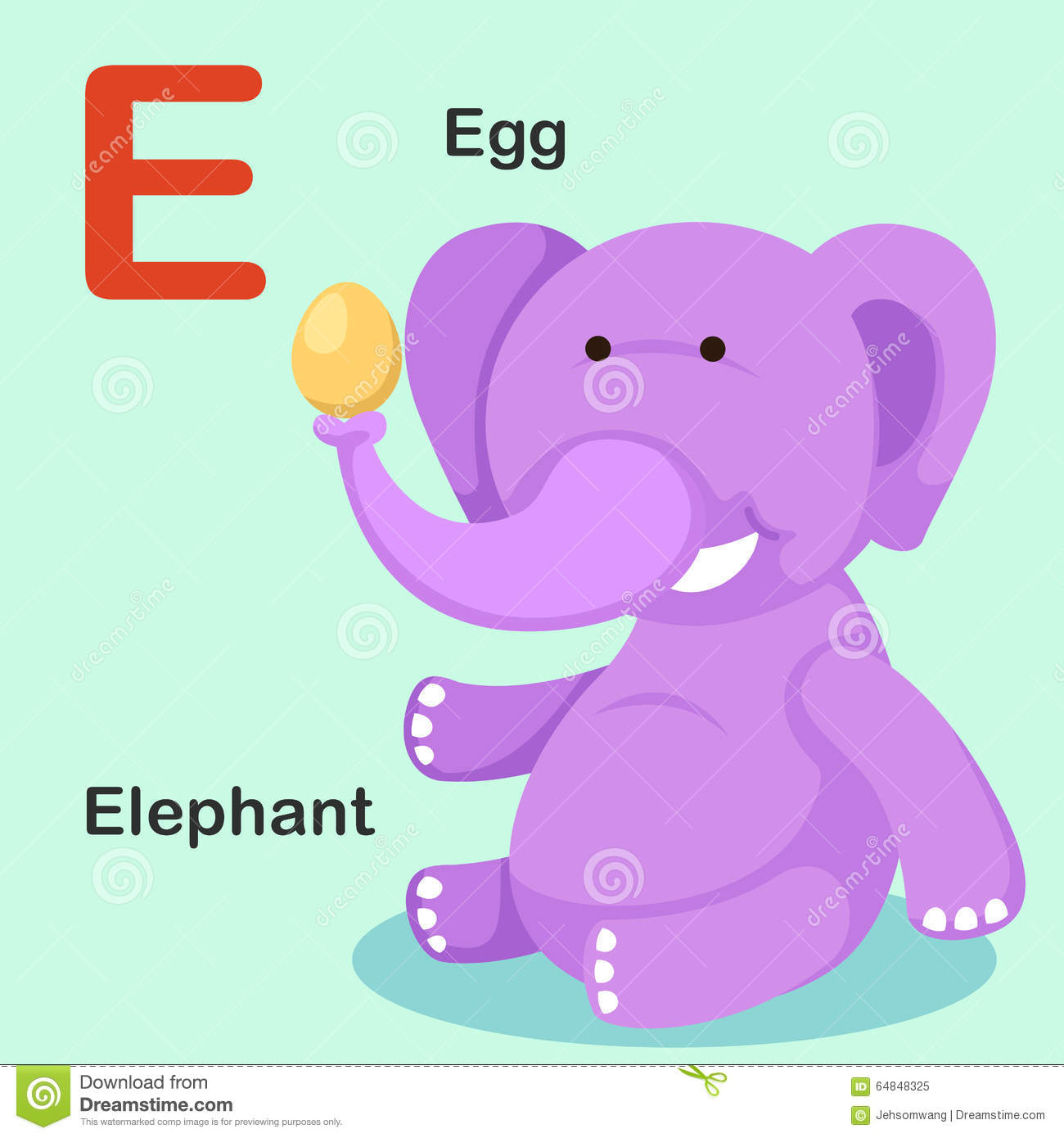 Illustration Isolated Animal Alphabet Letter E-Egg,Elephant Stock ...