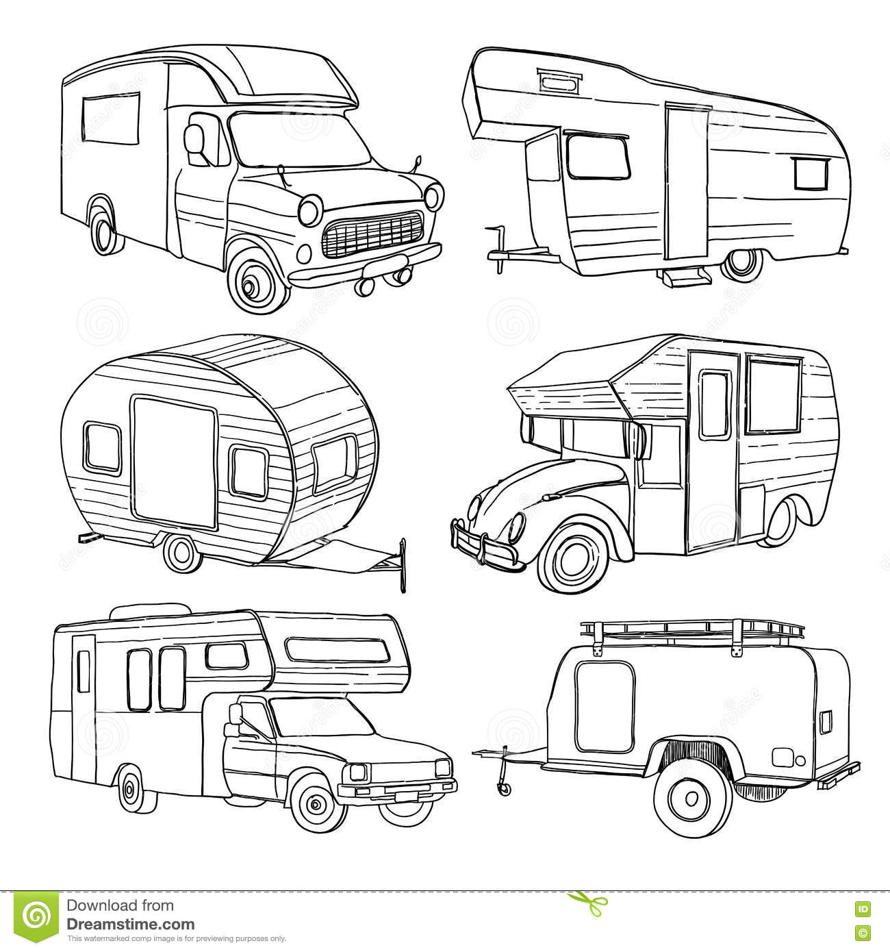 illustration of isolated hand drawn  doodle camper  car