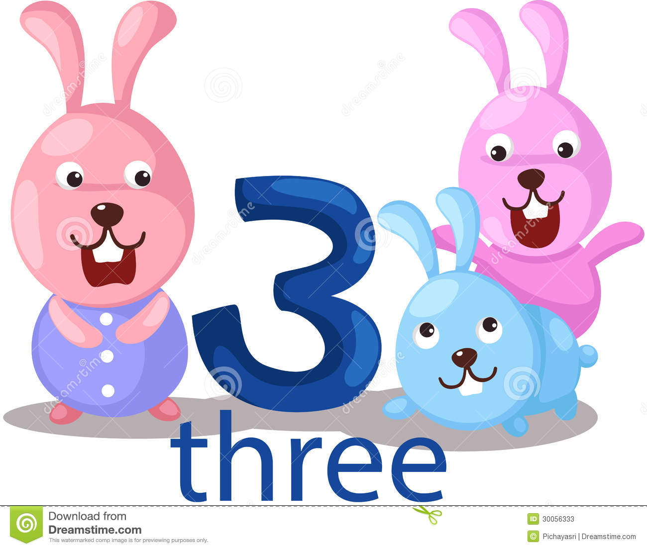 Diagram Number 3 Character With Rabbits Stock Photos