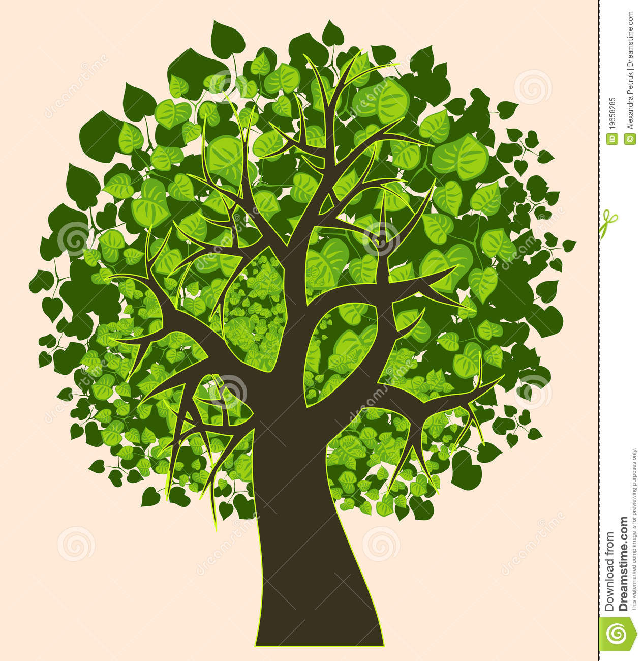 Oak Tree Drawing Illustration Of An Isolated Summer Tree Stock Vector