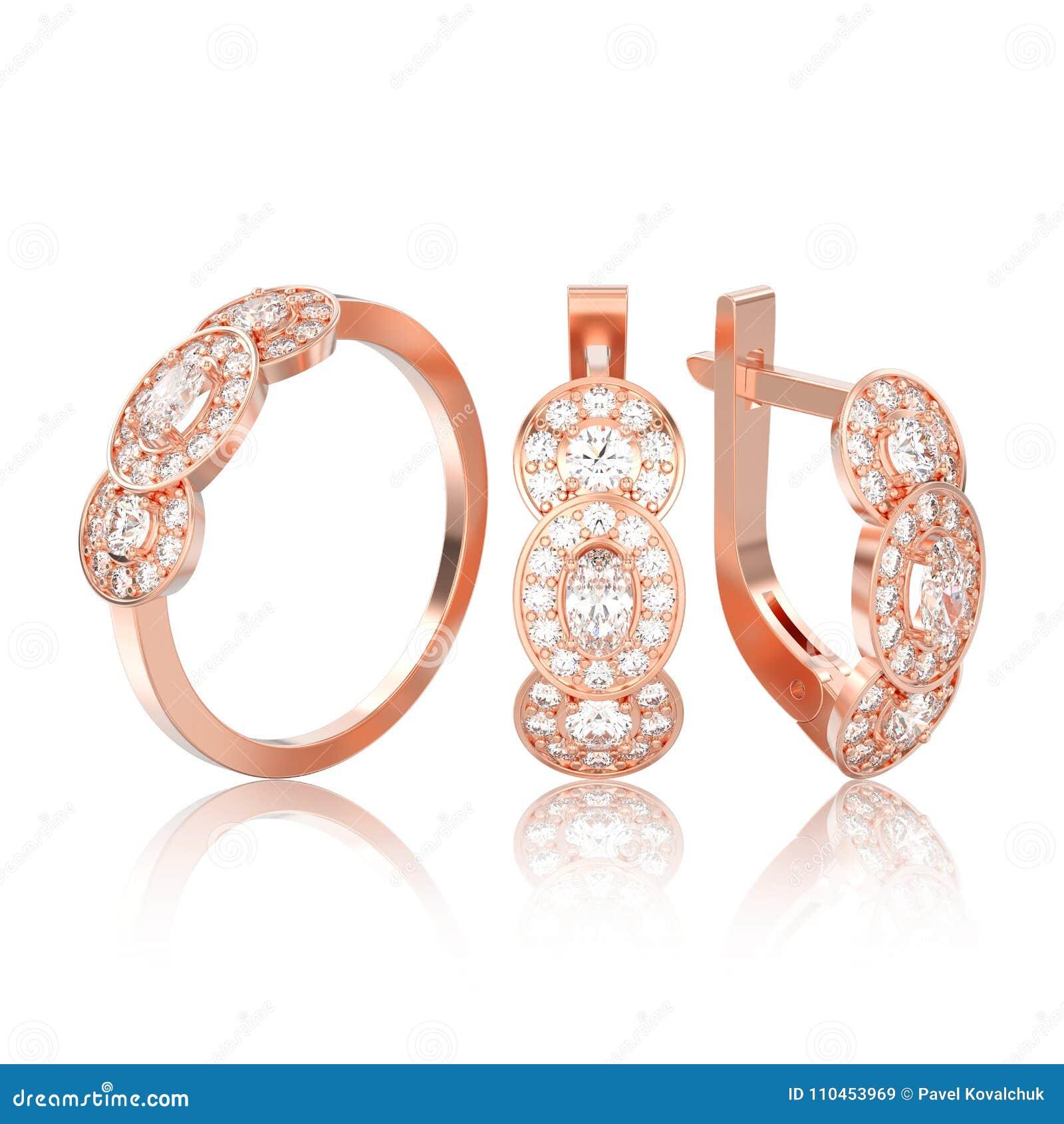 Illustration isolerad uppsättning 3D av det rosa guld- dekorativa diamantörat