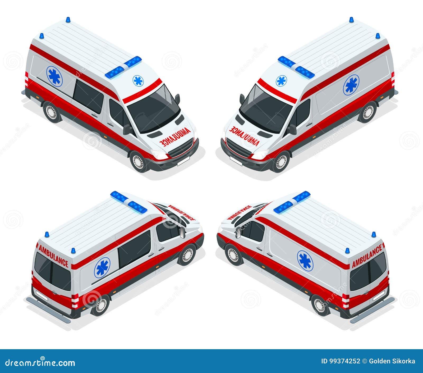 Illustration isométrique de van vector d ambulance d ensemble de transport Accident médical d évacuation de secours accident