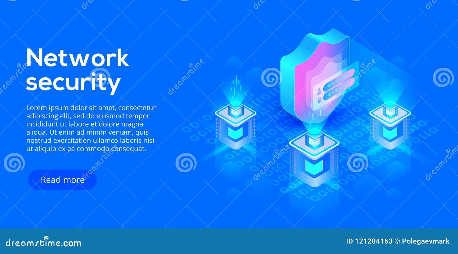 Illustration isométrique de vecteur de protection des données de réseau Service en ligne