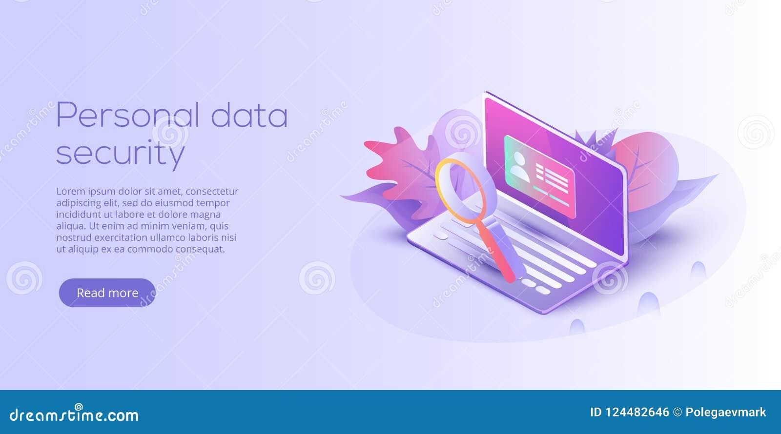 Illustration isométrique personnelle de vecteur de protection des données Ser en ligne