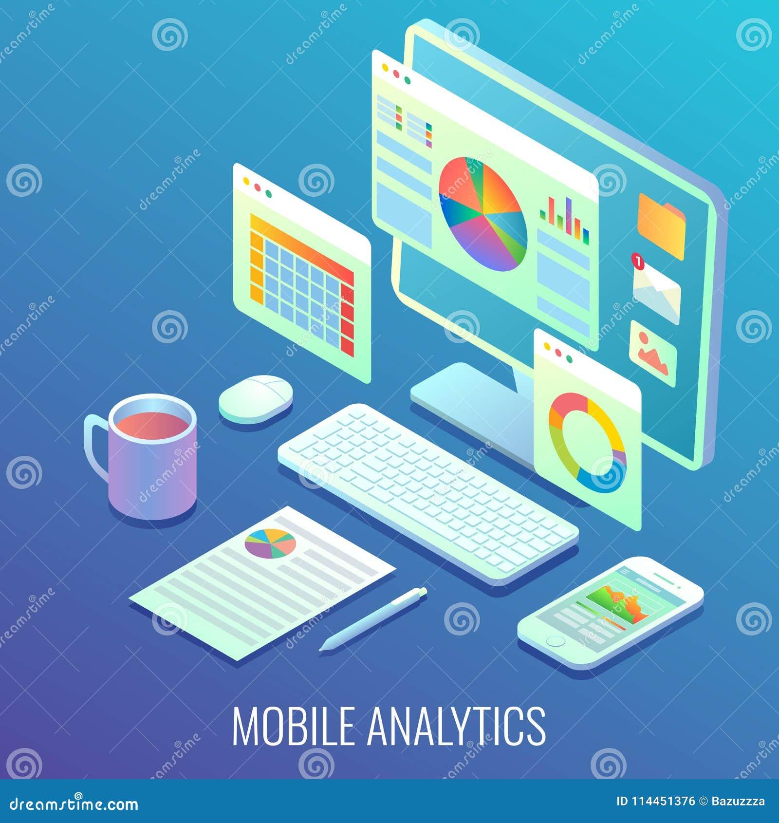 Illustration isométrique plate de Web d analytics de vecteur mobile de concept