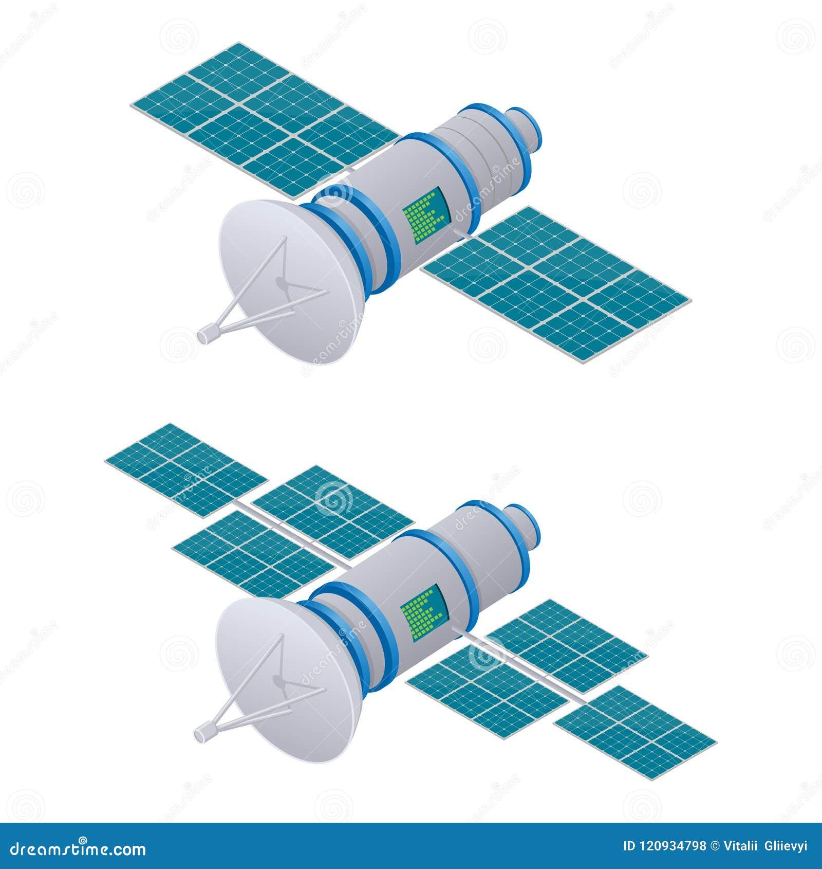 Illustration isométrique satellite de GPS Technologie satellite sans fil