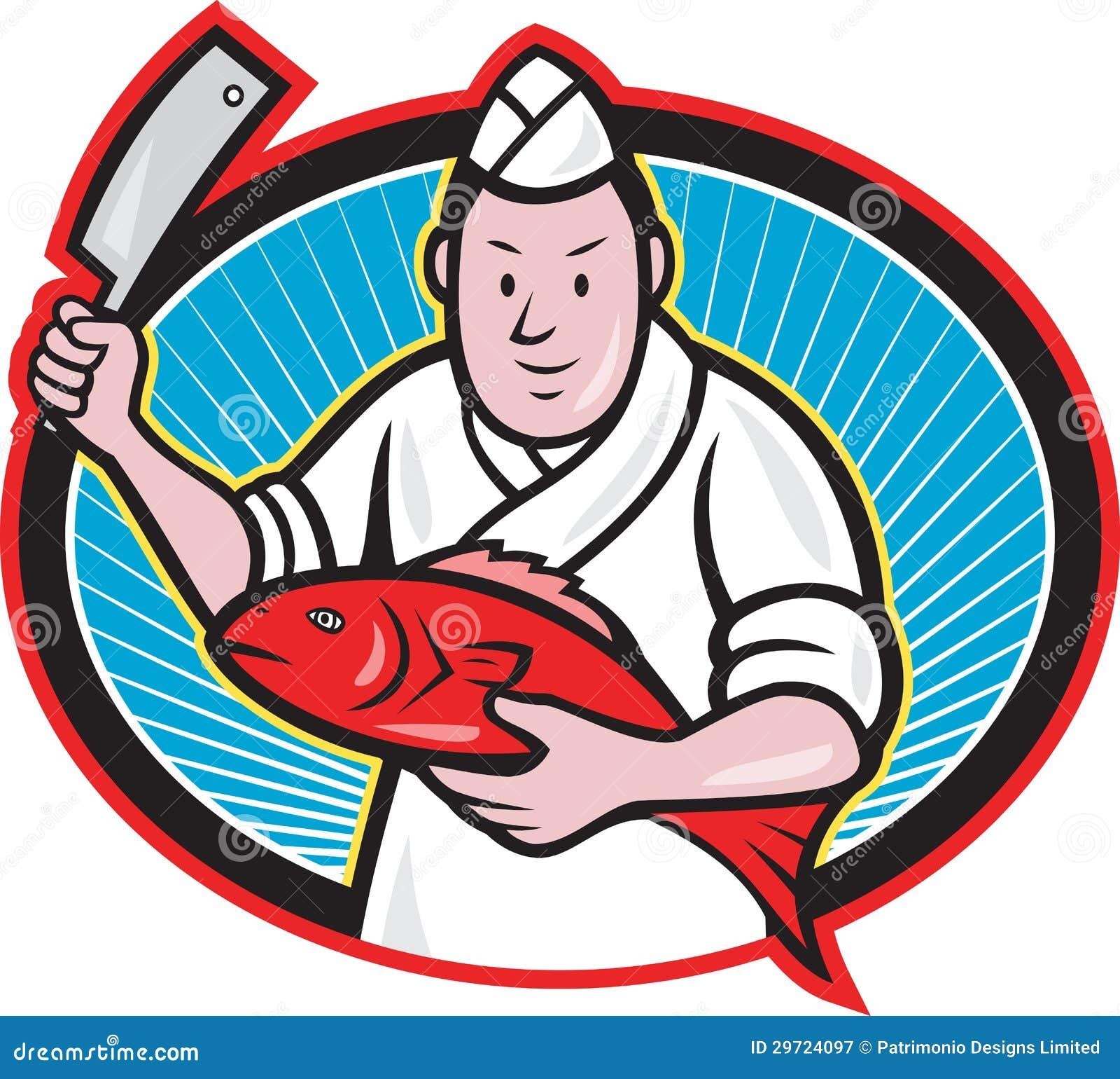 Japanese Fishmonger Butcher Chef Cook Stock Vector - Image ...
