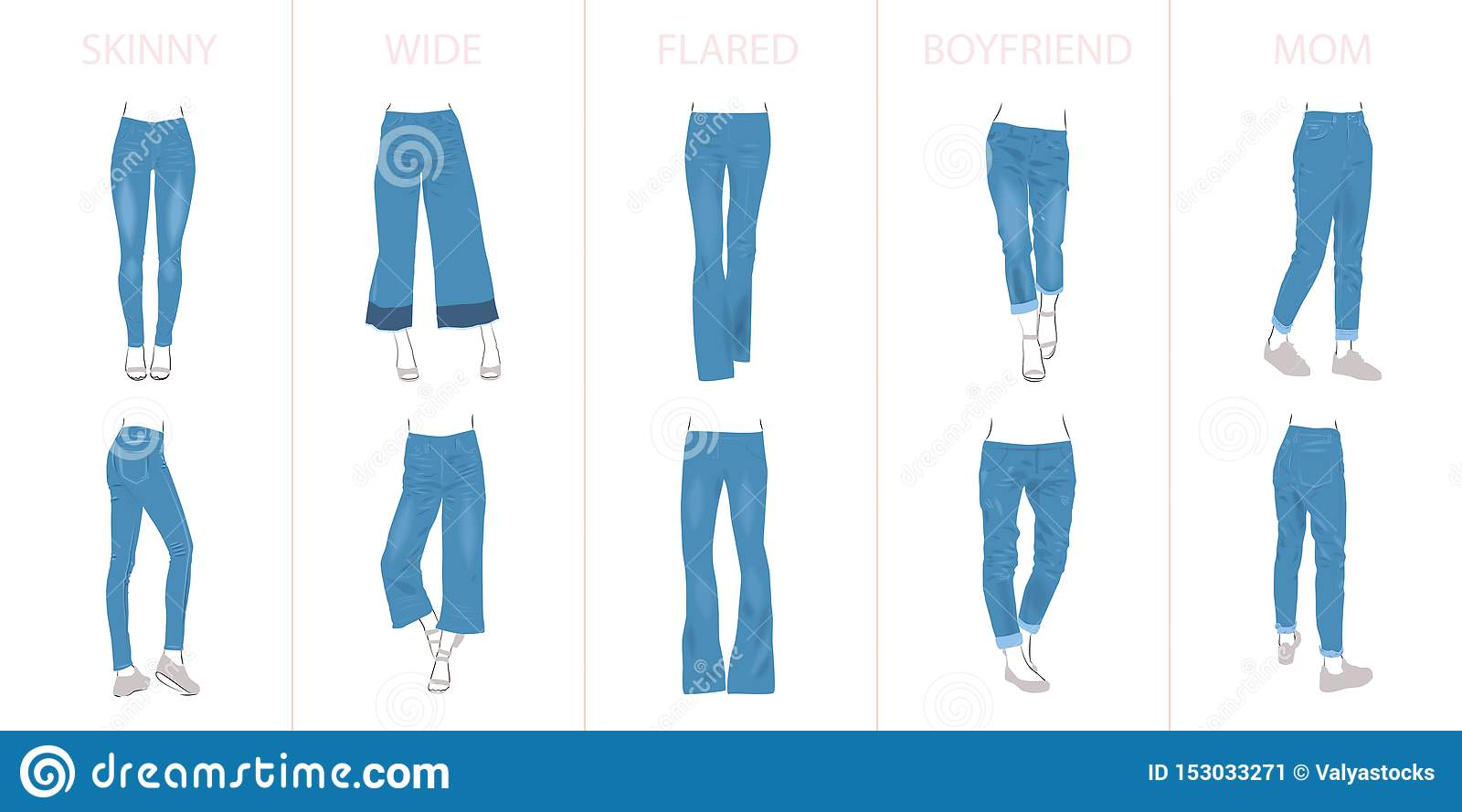 Illustration of jeans types