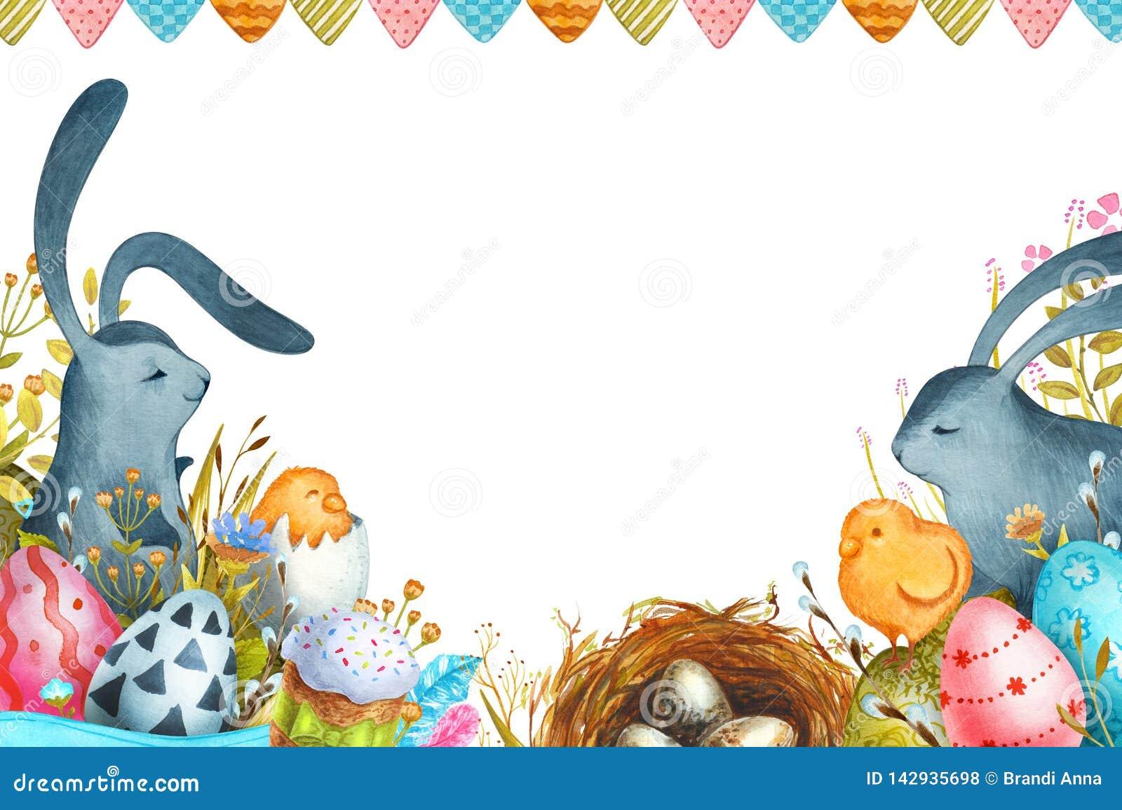 Illustration Joyeuses P?ques d aquarelle Lapins de P?ques et oeufs de p?ques
