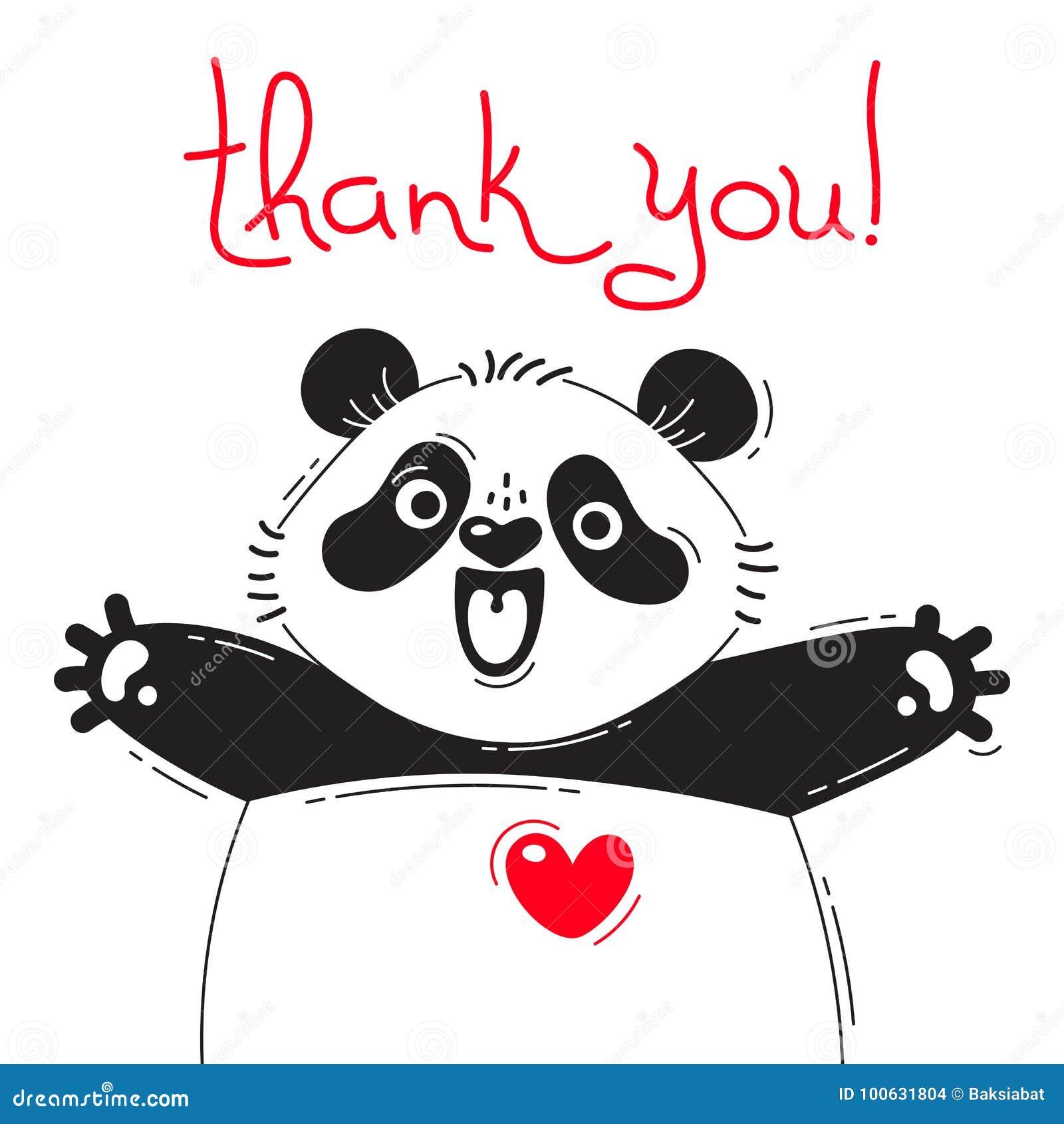 Illustration With Joyful Panda Who Says - Thank You. For ...