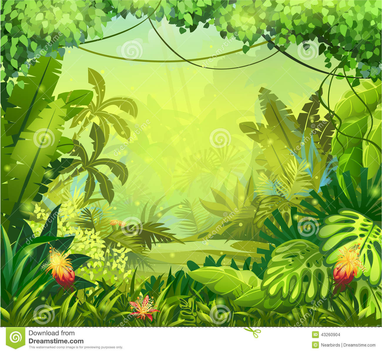 Illustration Jungle With Red Flowers Stock Vector - Image: 43260904